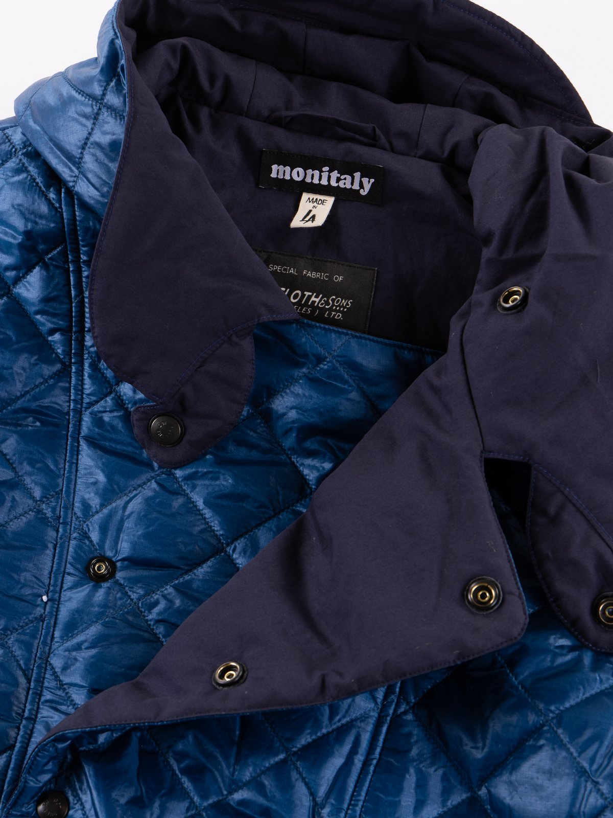 Navy 3oz Zigzag Dotera Fill Hooded Quilted Jacket - Image 5