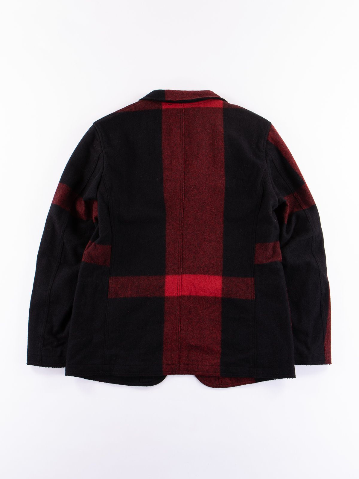 Black Big Plaid Wool Melton RE Bedford Jacket - Image 5