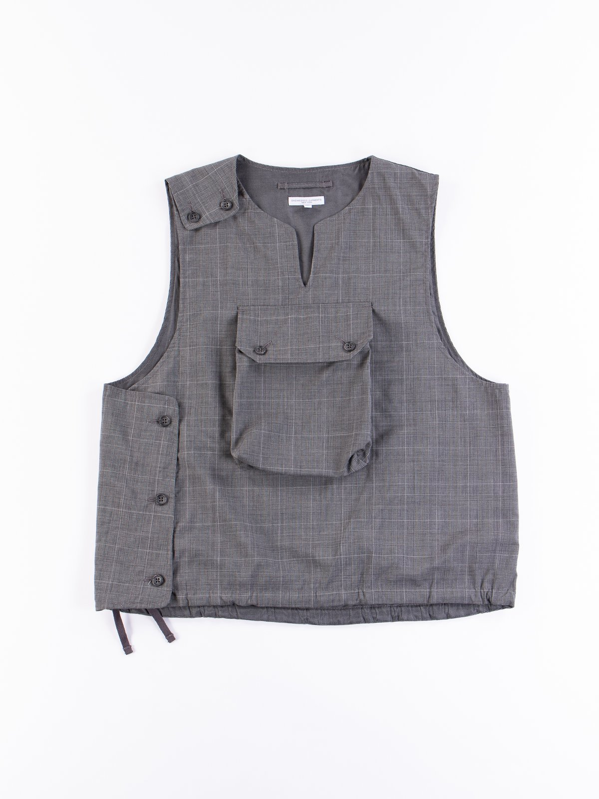Grey Glen Plaid Tropical Wool Cover Vest - Image 1