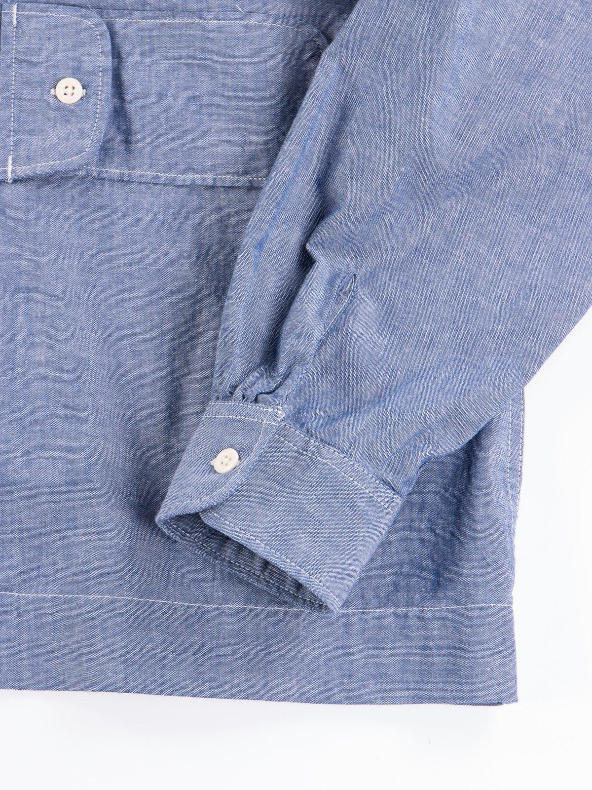 Blue Cotton Chambray Bowling Shirt - Image 5