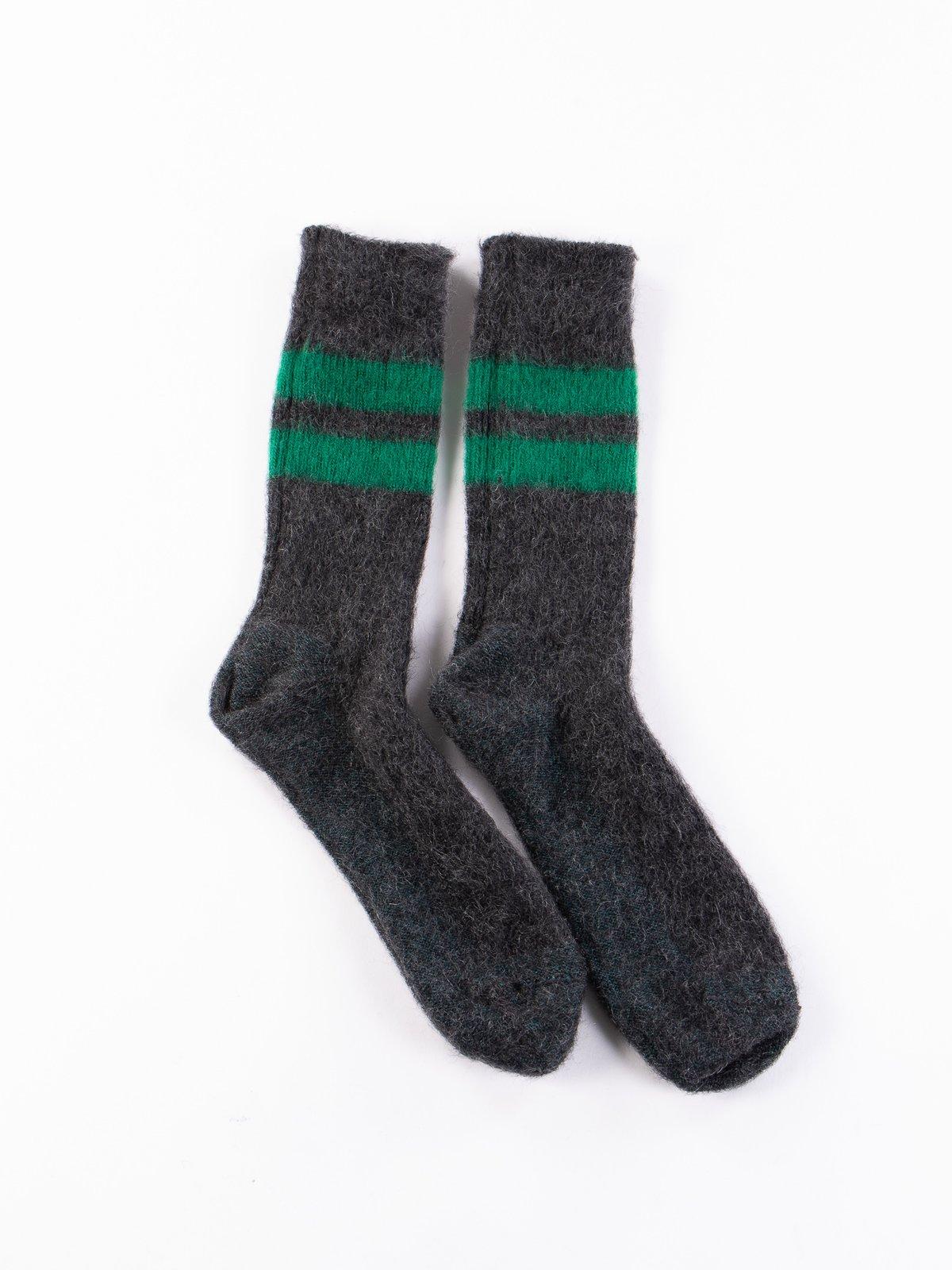 Charcoal Reversible Brushed Mohair Crew Socks - Image 2