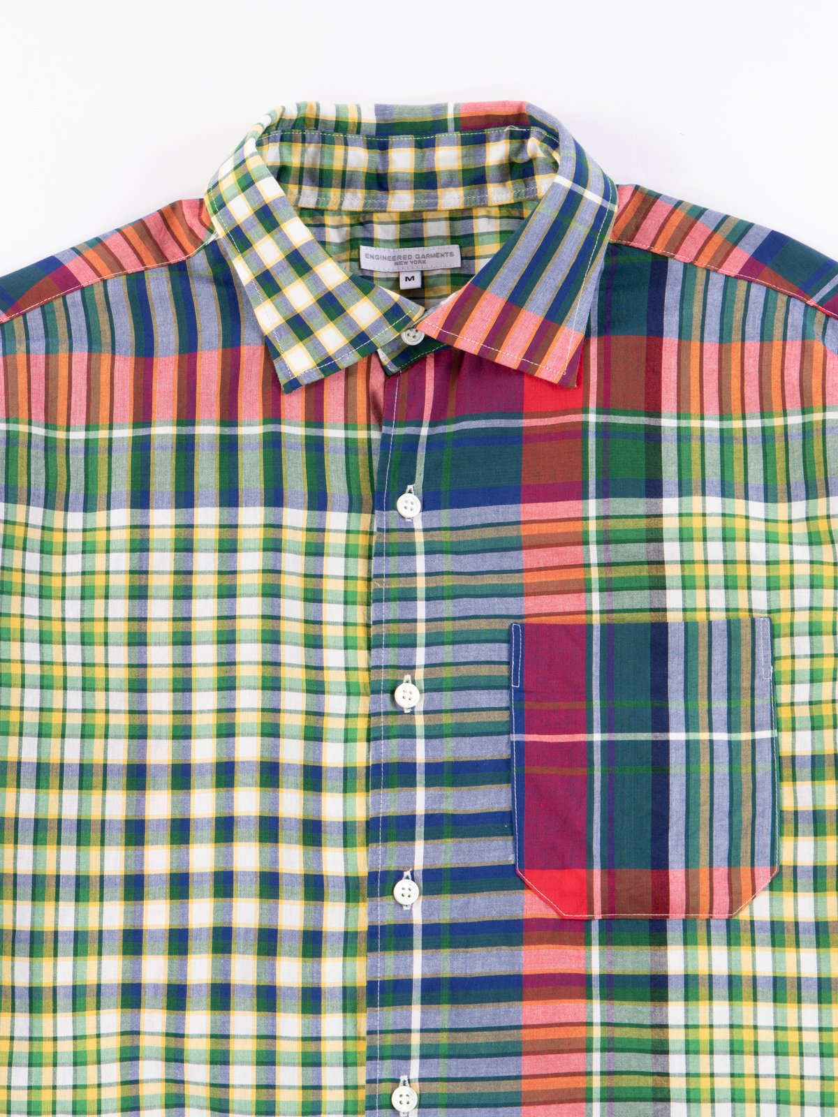 Red/Blue/Green Big Madras Plaid Spread Collar Shirt - Image 3