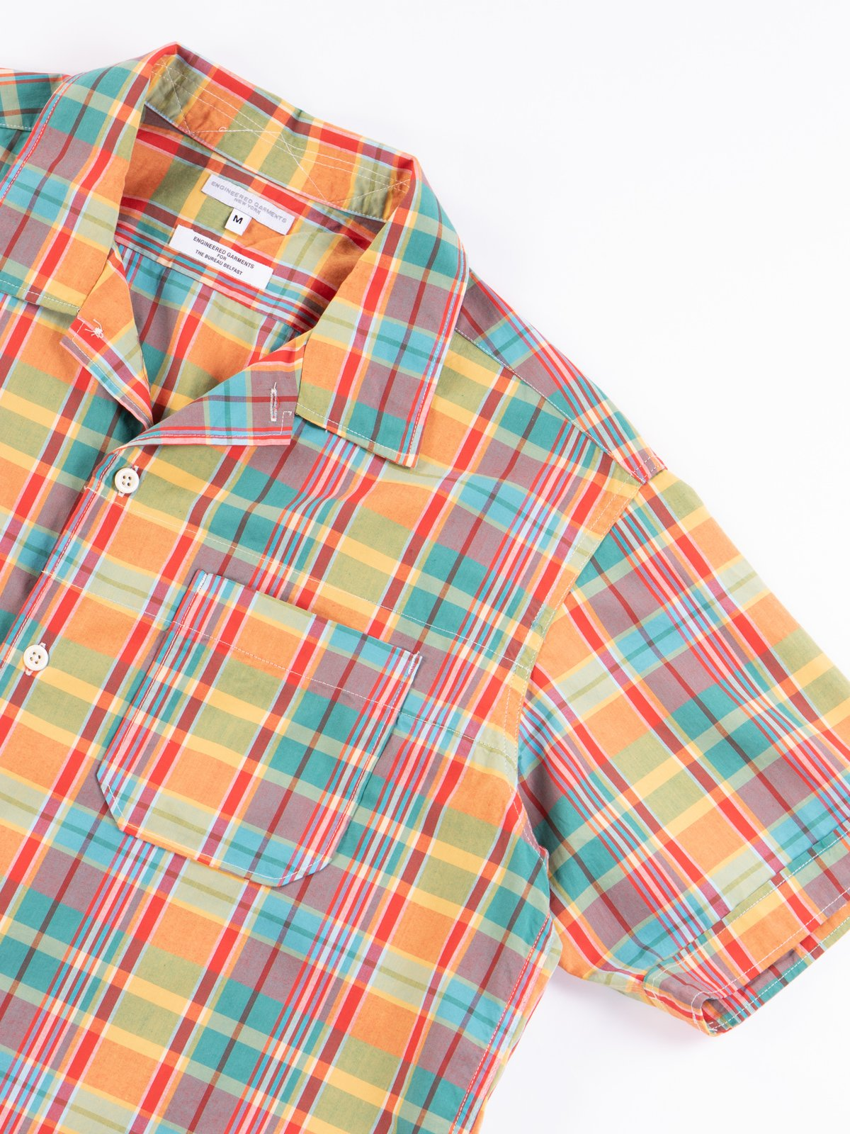 Orange Plaid Cotton Broadcloth Camp Shirt - Image 5