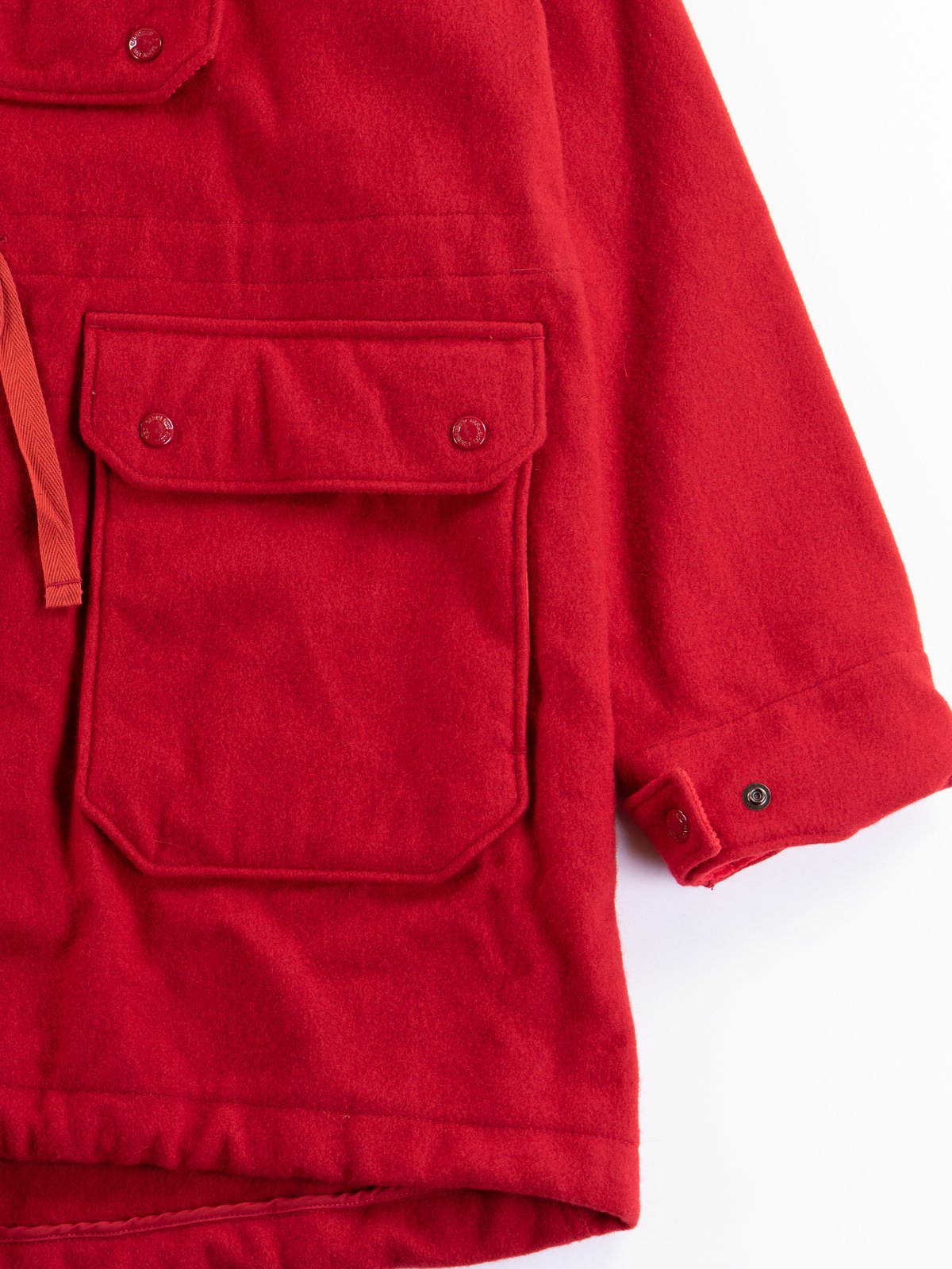 Red Wool Melton Over Parka - Image 4
