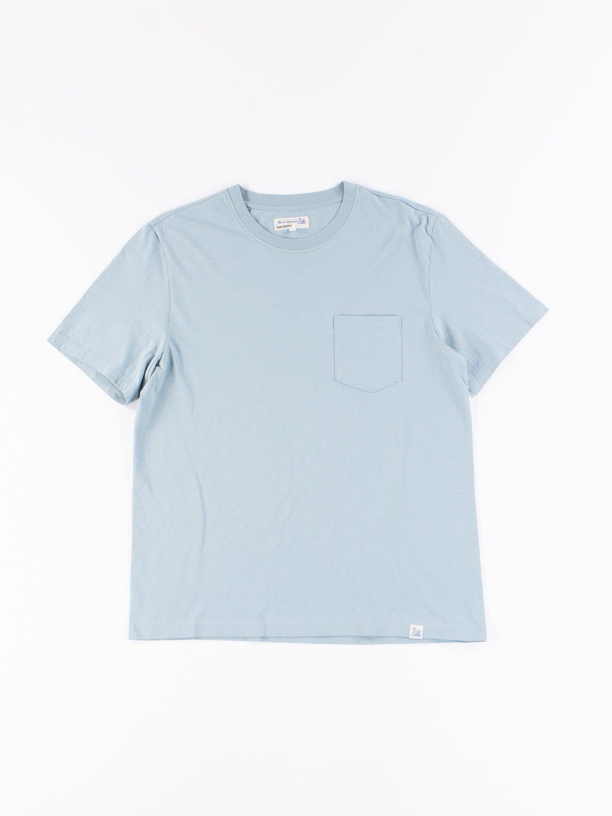 Pale Blue Good Basics CTP01 Pocket Crew Neck Tee - Image 1