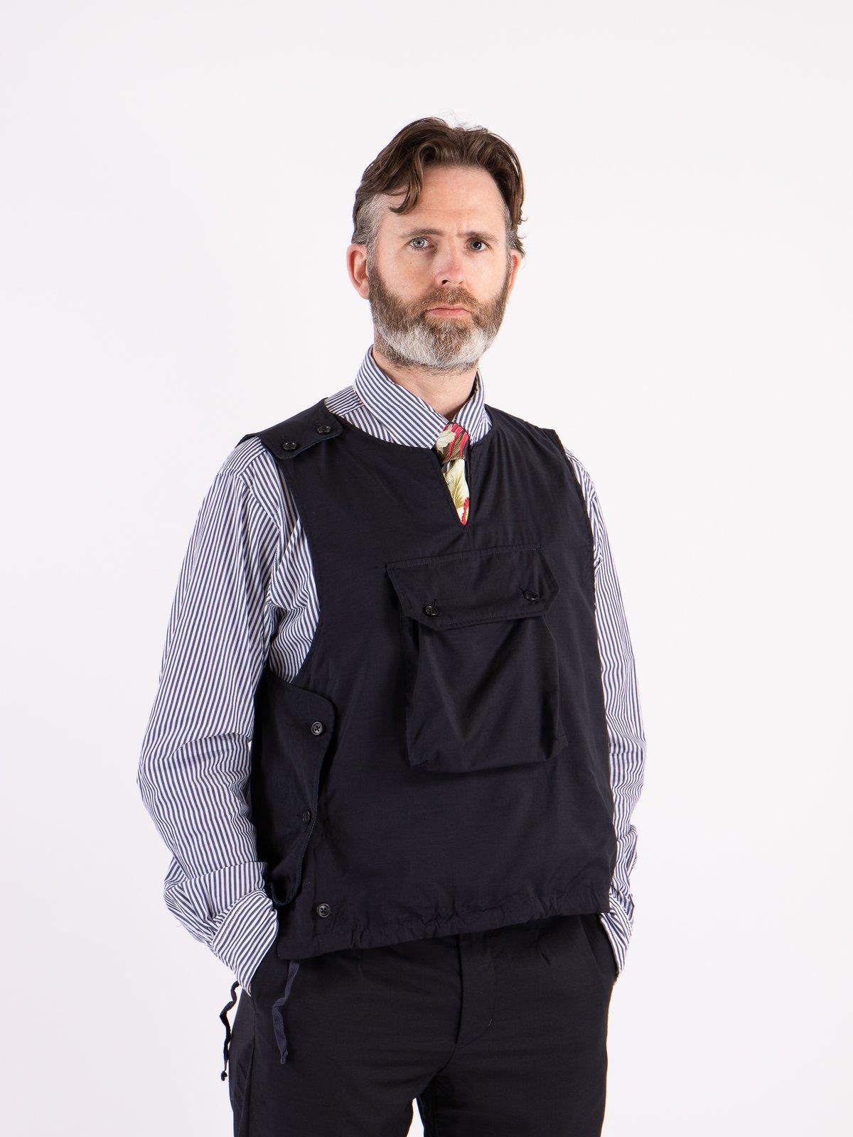 Dark Navy Tropical Wool Cover Vest - Image 2