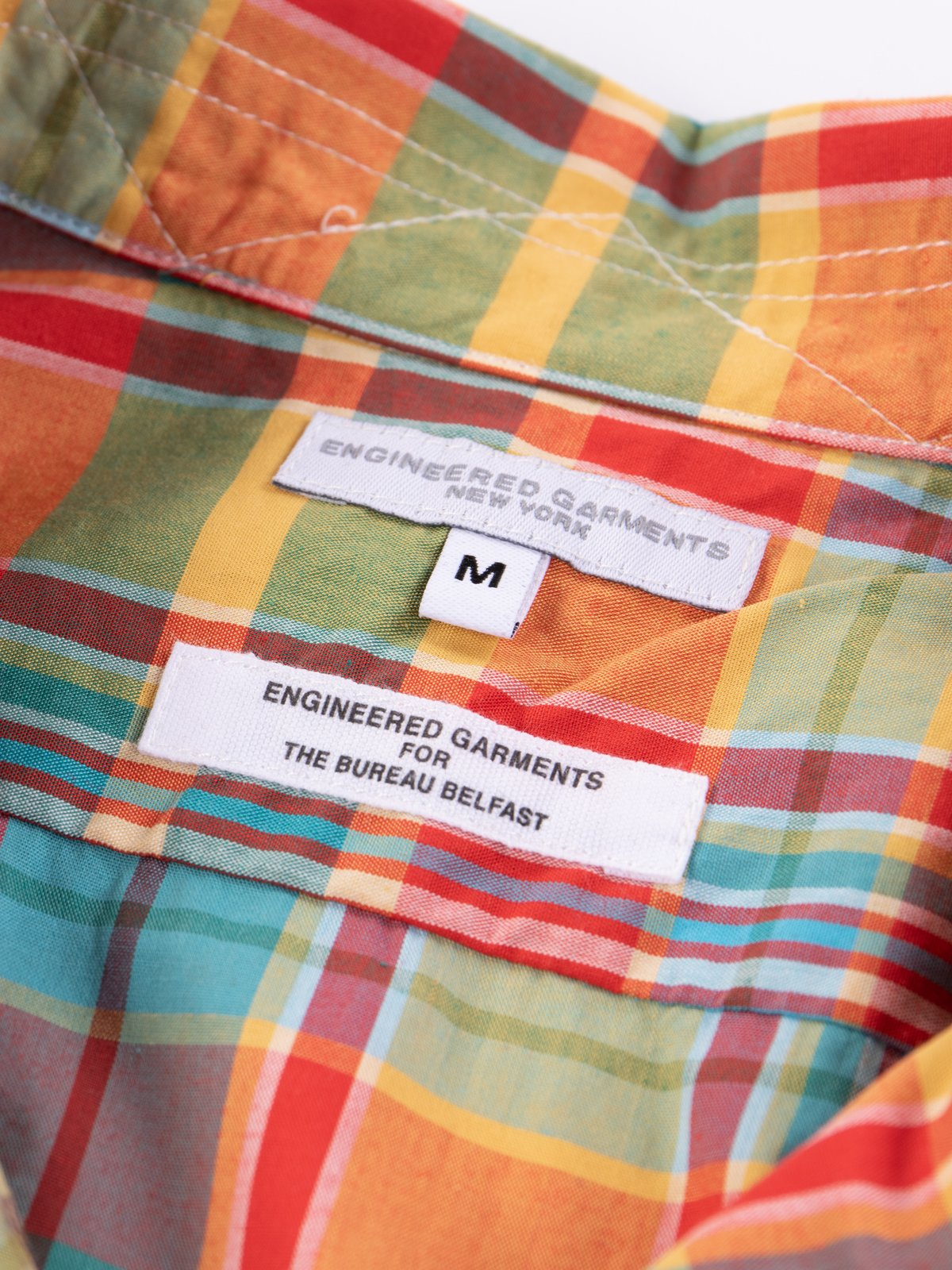 Orange Plaid Cotton Broadcloth Camp Shirt - Image 6