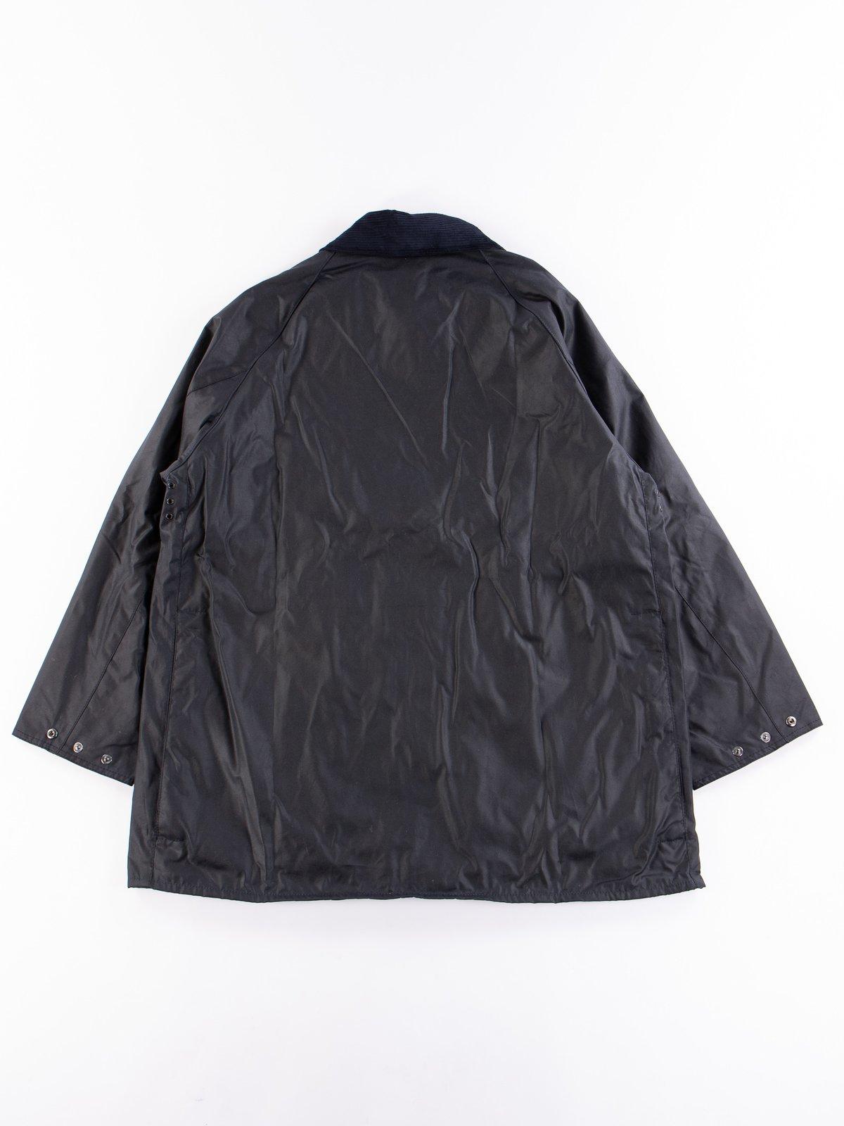 Navy Oversized Beaufort Waxed Cotton Jacket - Image 5
