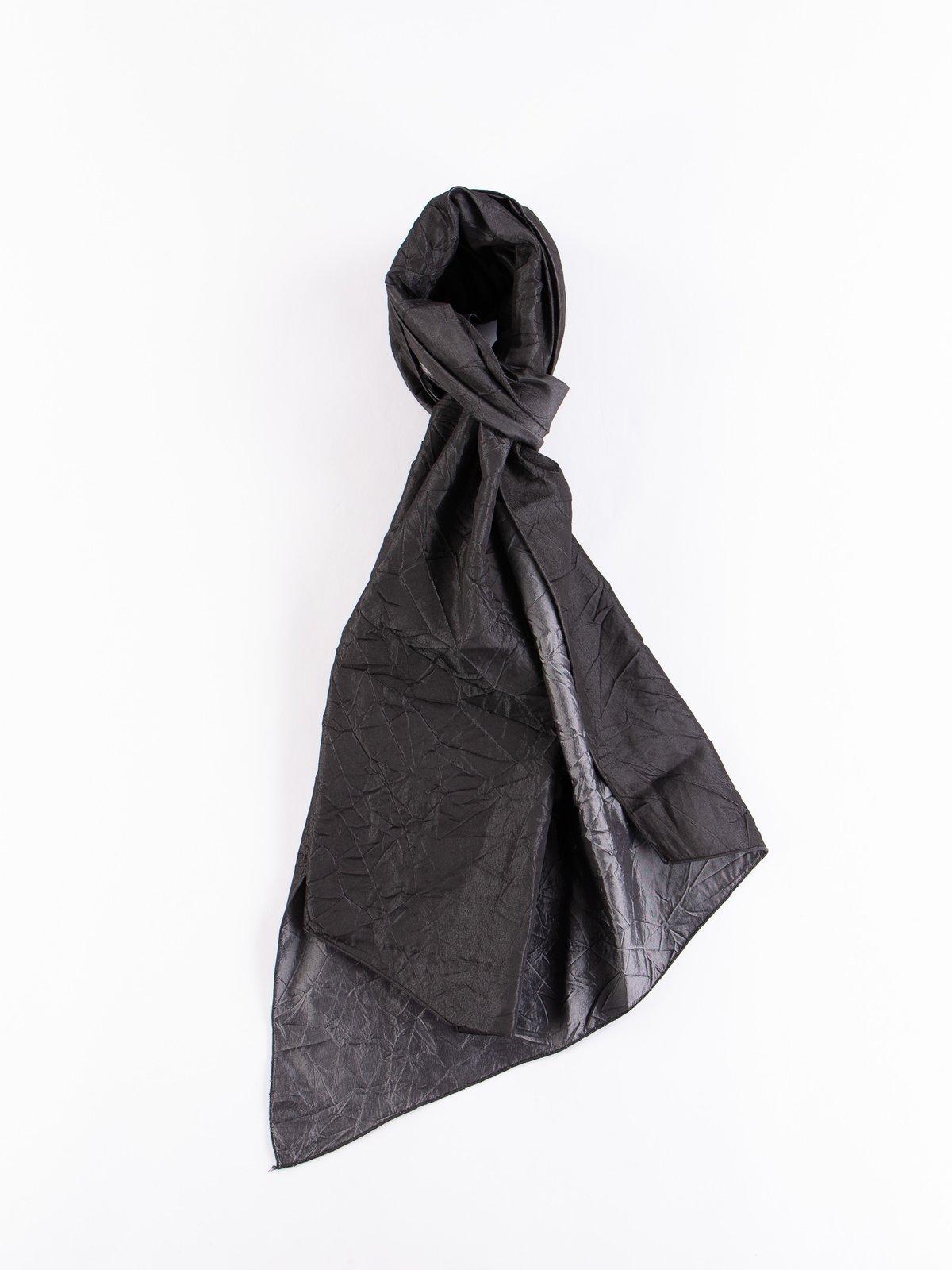 Charcoal Crushed Satin Taffeta Long Scarf - Image 1
