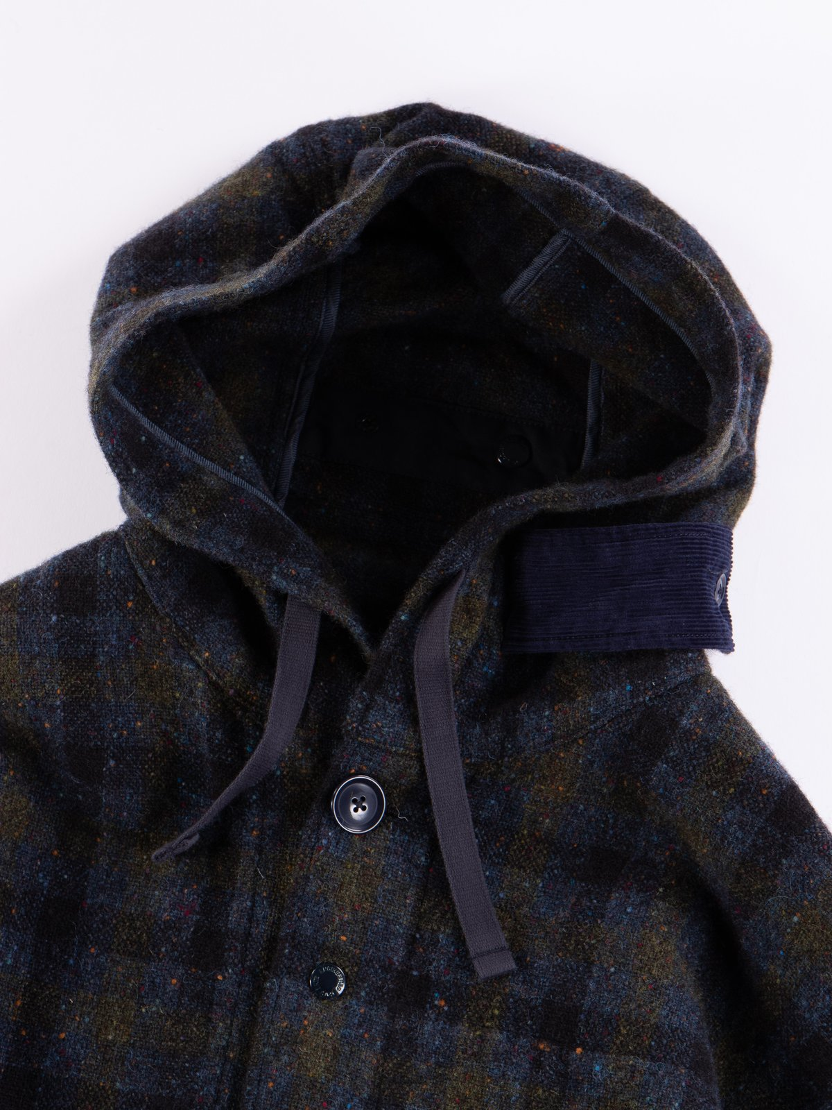 Navy Check Donegal Wool Tweed Madison Parka - Image 7