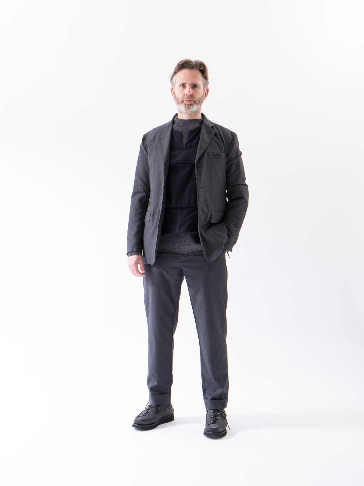 Charcoal Worsted Wool Gabardine Andover Pant - Image 3