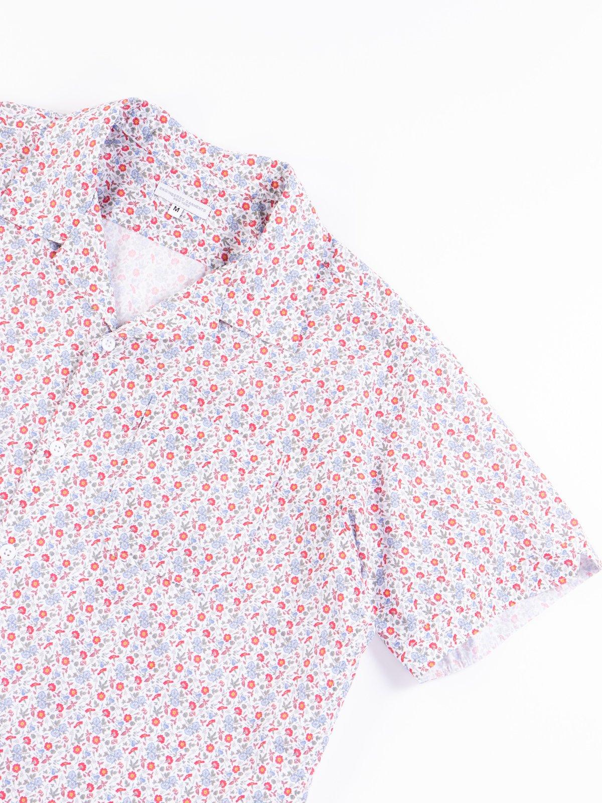 White/Blue/Orange Small Floral Camp Shirt - Image 4