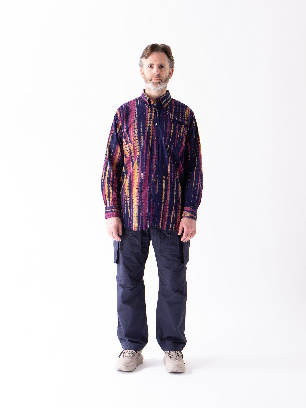Navy Cotton Lawn Batik Stripe 19th Century BD Shirt - Image 2