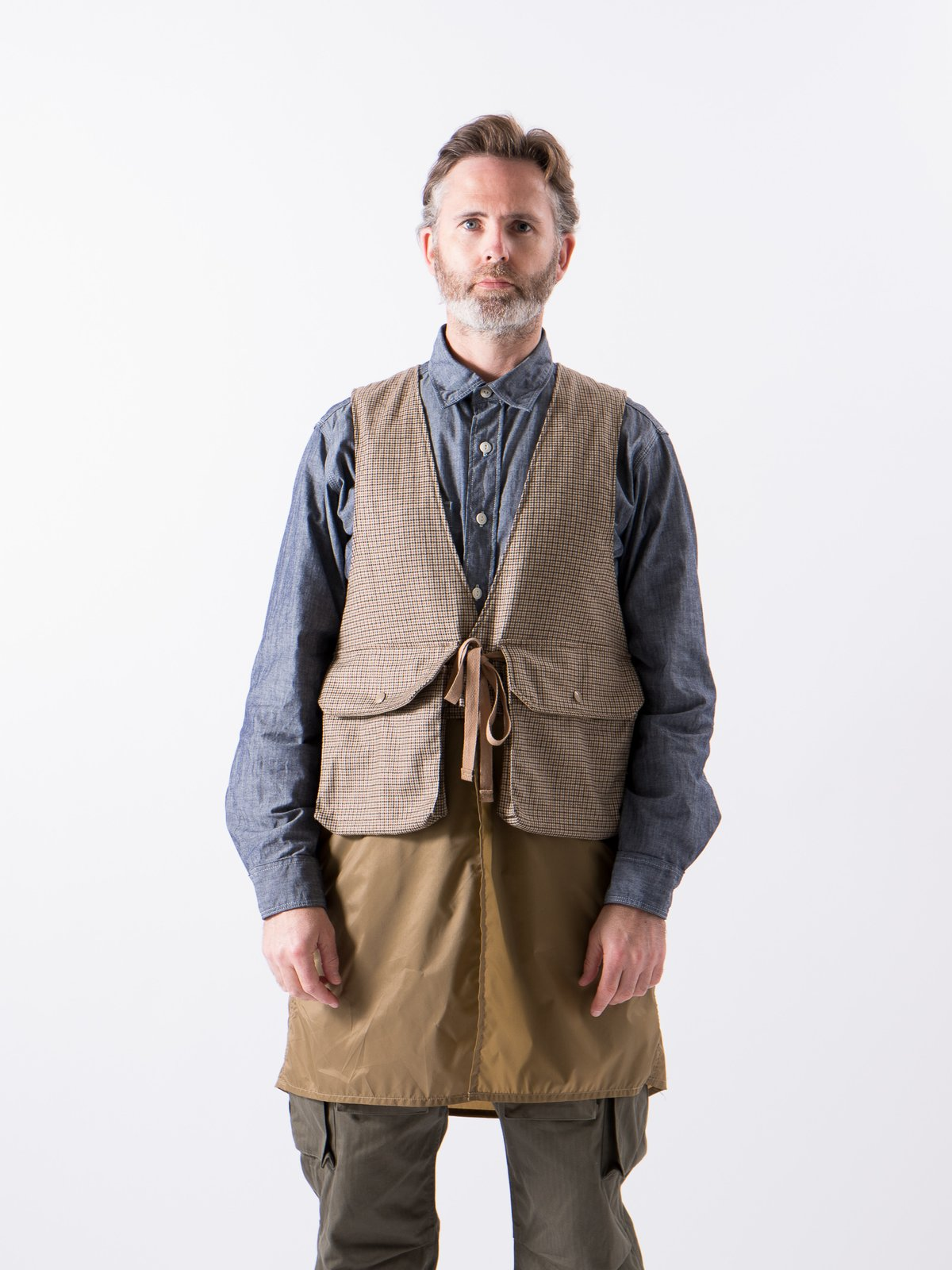 Brown Wool Poly Gunclub Check Long Fowl Vest - Image 2