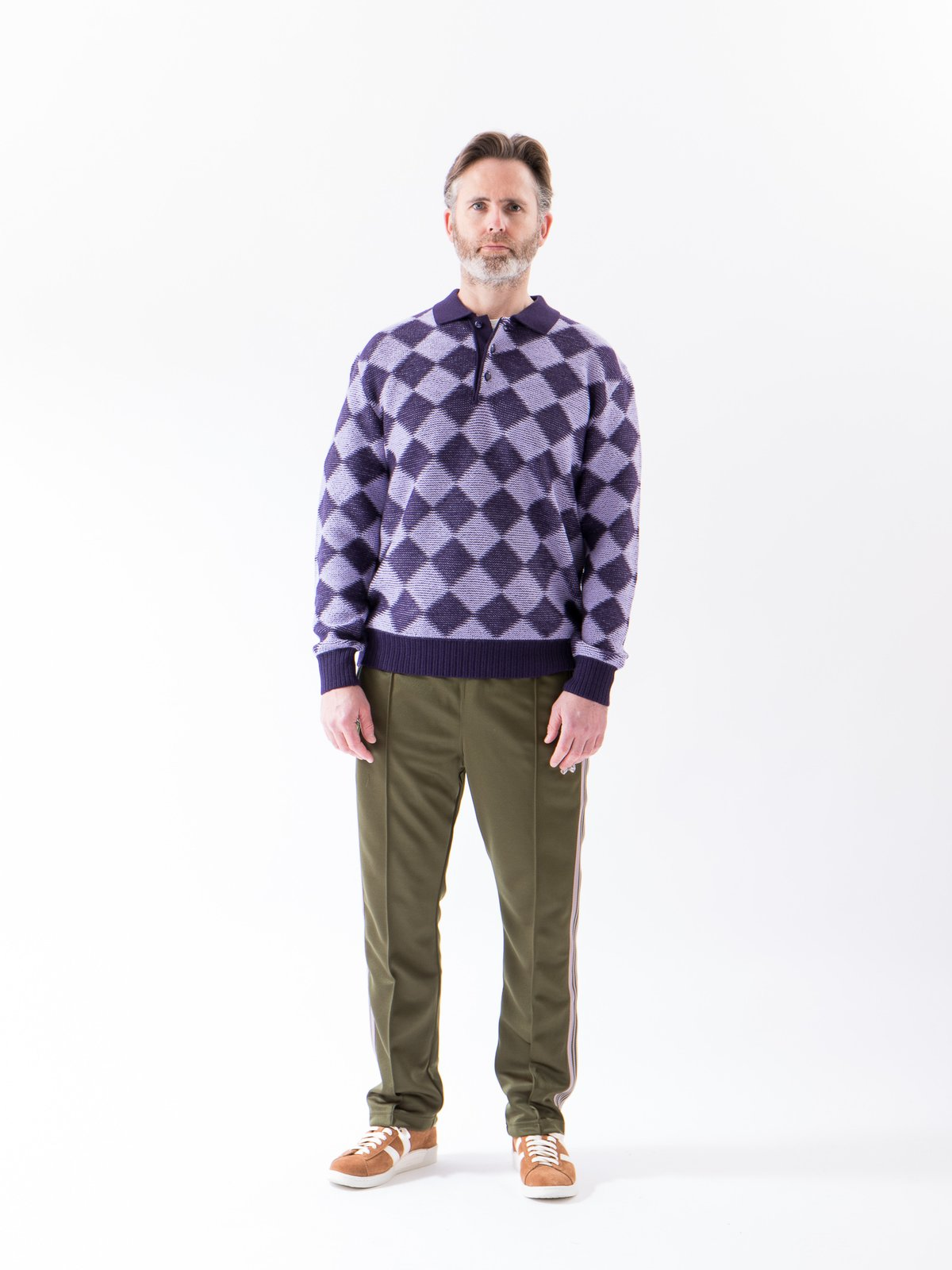 Purple Checkered Polo Sweater - Image 2