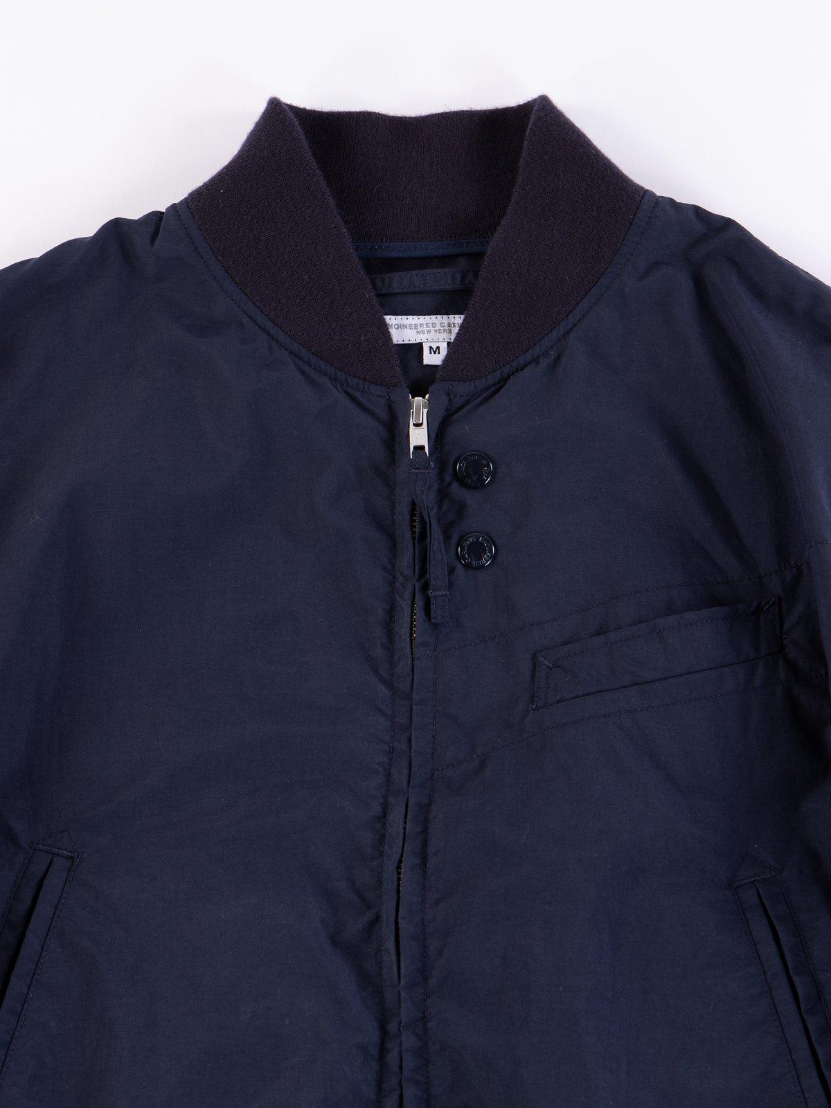 Navy Acrylic Coated Nylon Taffeta Aviator Jacket - Image 3