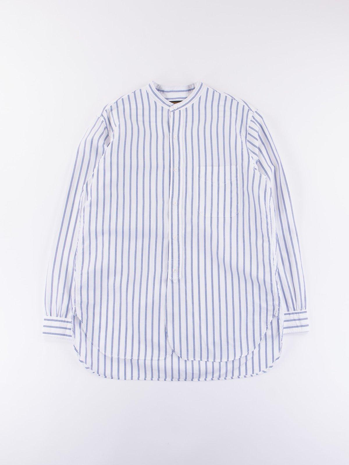 Blue Stripe Banded Collar Shirt - Image 1