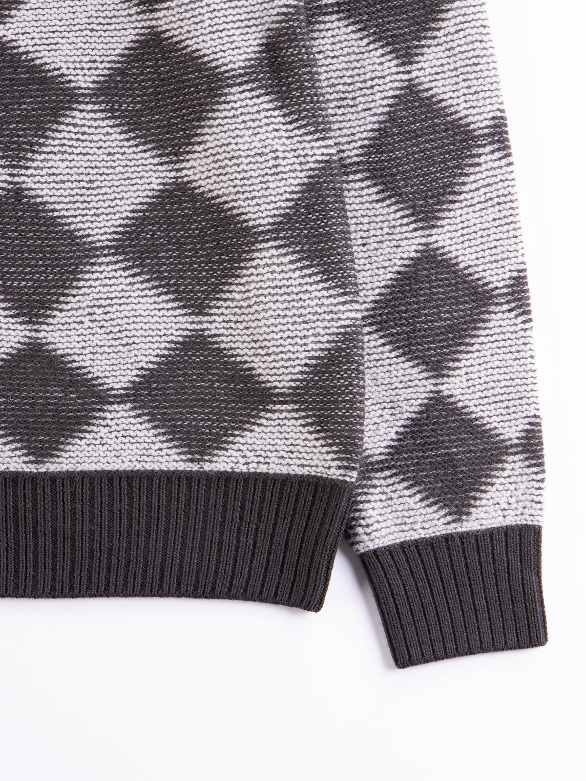 Charcoal Checkered V Neck Cardigan - Image 4