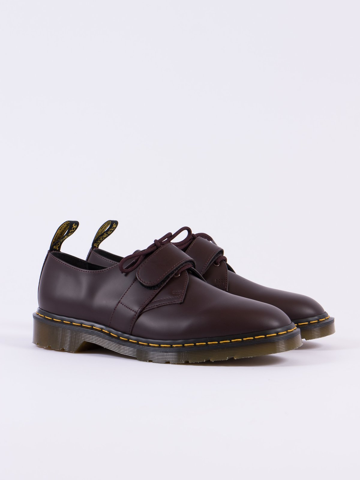 ... Oxblood Smooth Leather Velcro Shoe - Image 1 ...