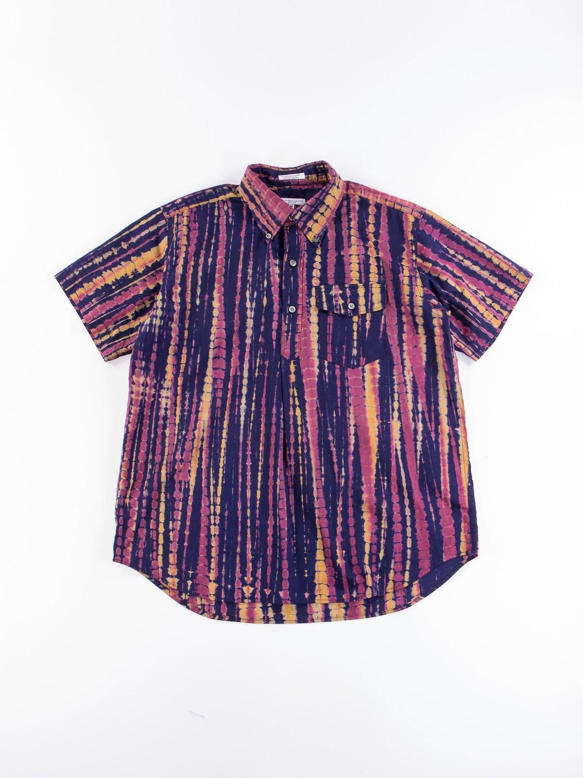 Navy Cotton Lawn Batik Stripe Popover BD Shirt - Image 1