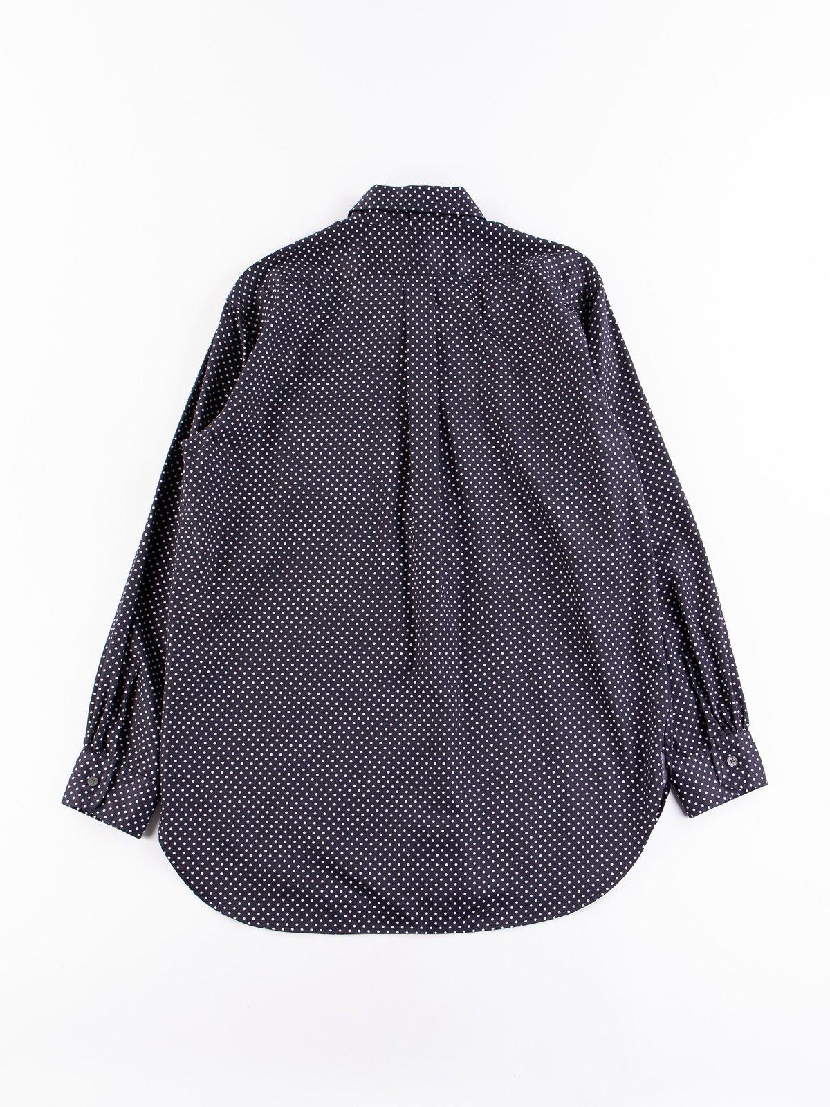 Navy Cotton Big Polka Dot Broadcloth Rounded Collar Shirt - Image 5