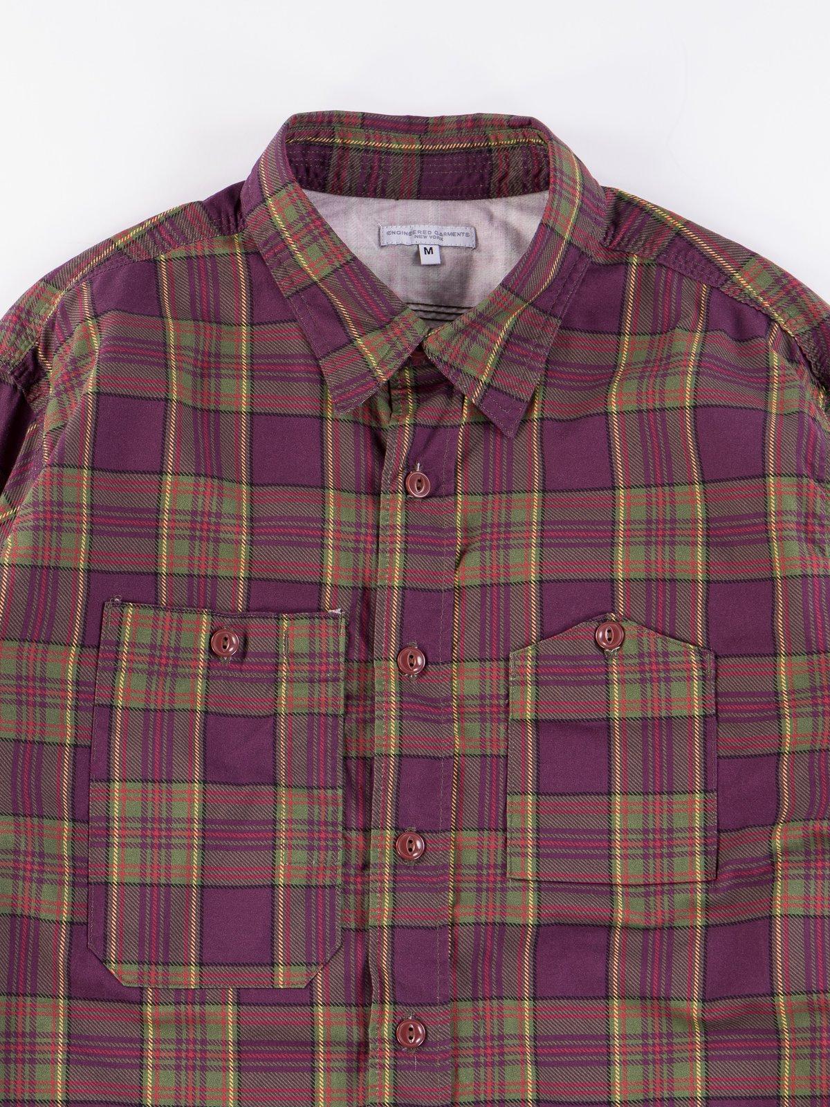 Purple/Green Cotton Printed Plaid Work Shirt - Image 4