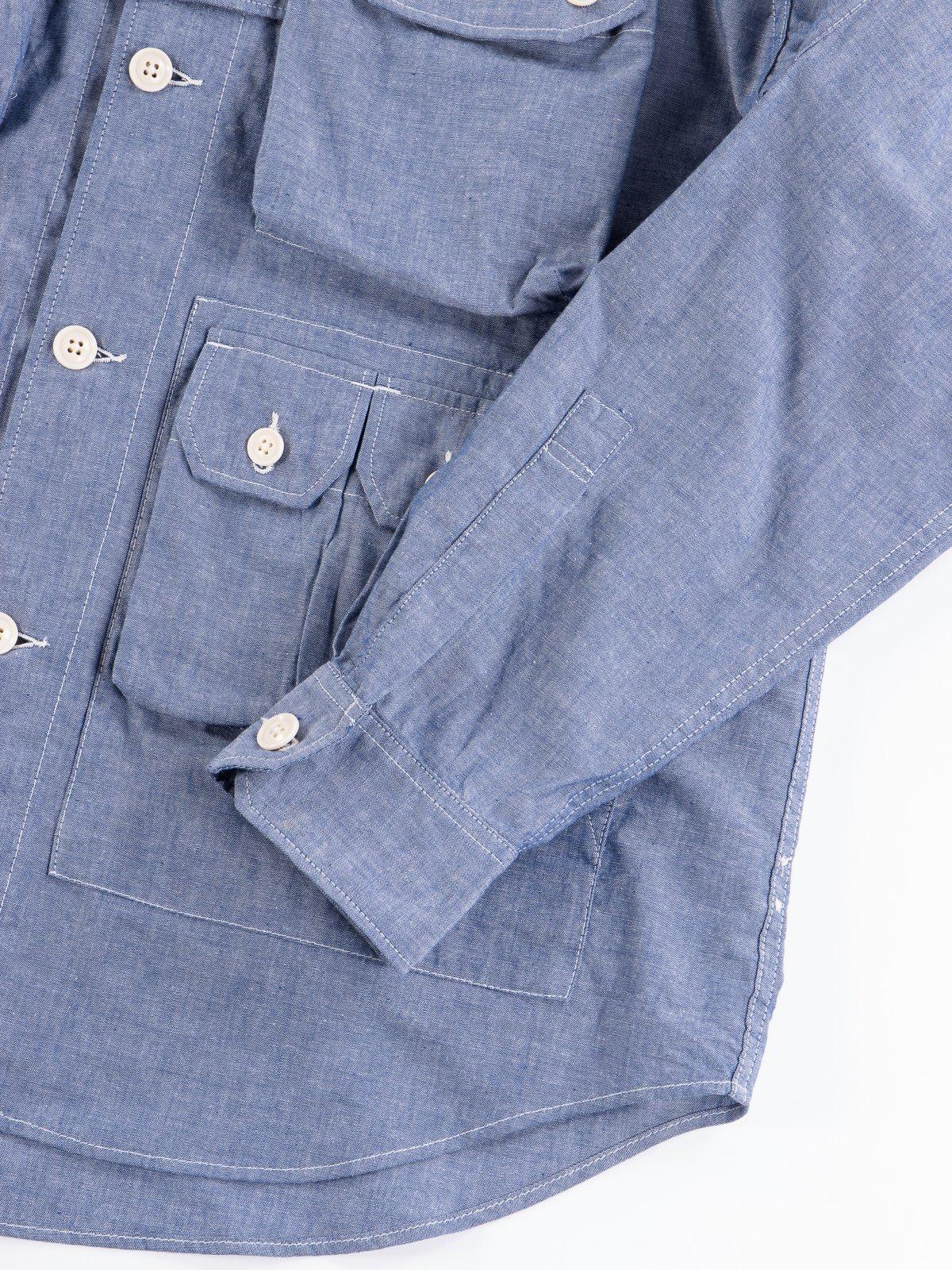 Blue Cotton Chambray Explorer Shirt Jacket - Image 6