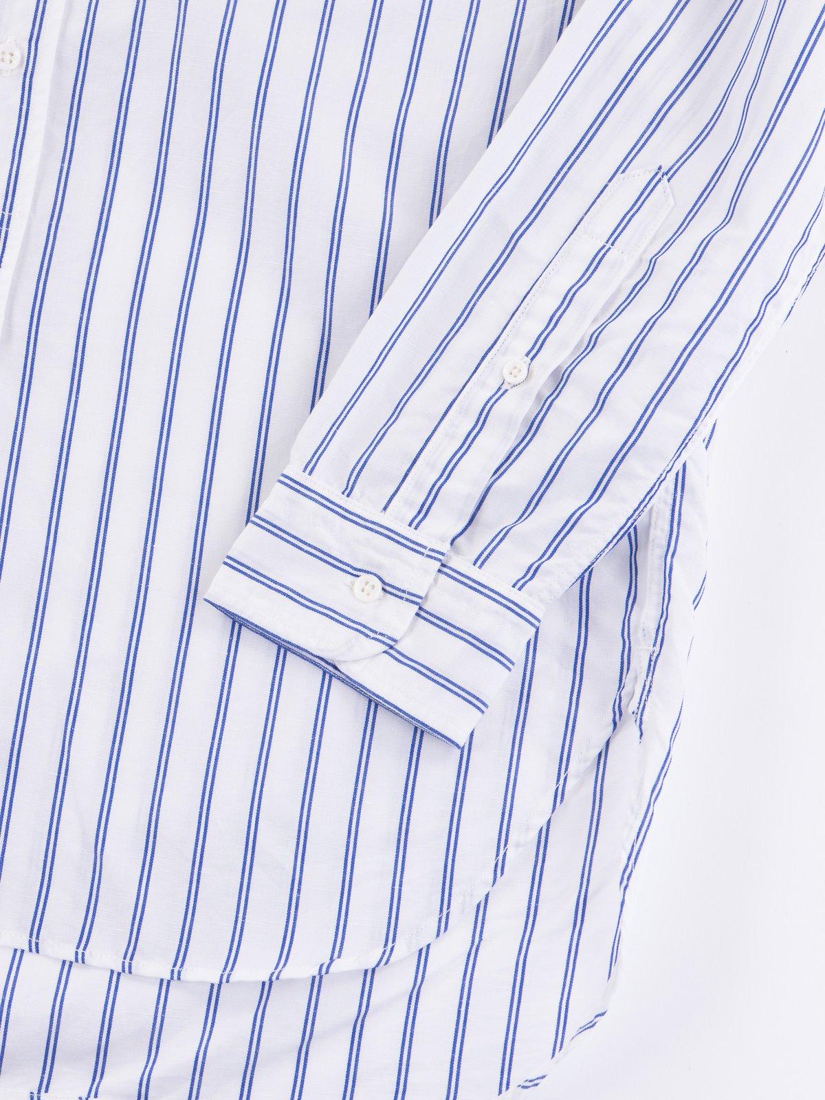 Blue Stripe Banded Collar Shirt - Image 3