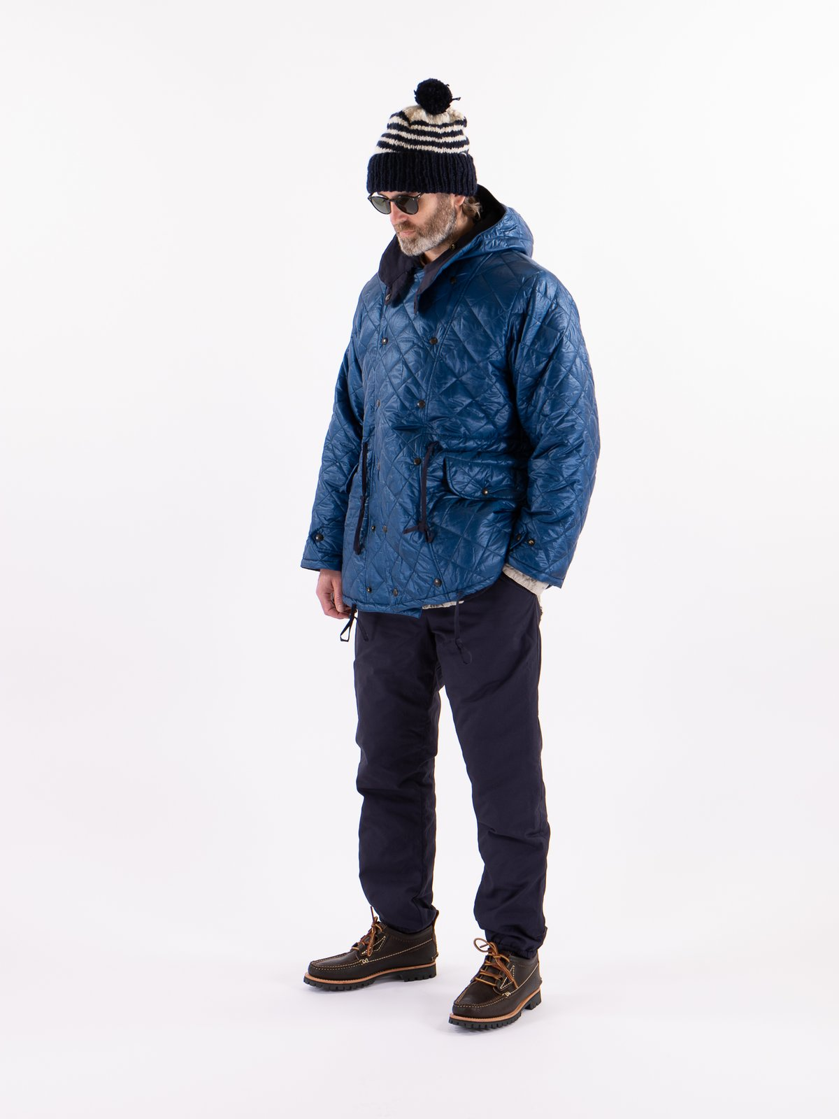 Navy 3oz Zigzag Dotera Fill Hooded Quilted Jacket - Image 2