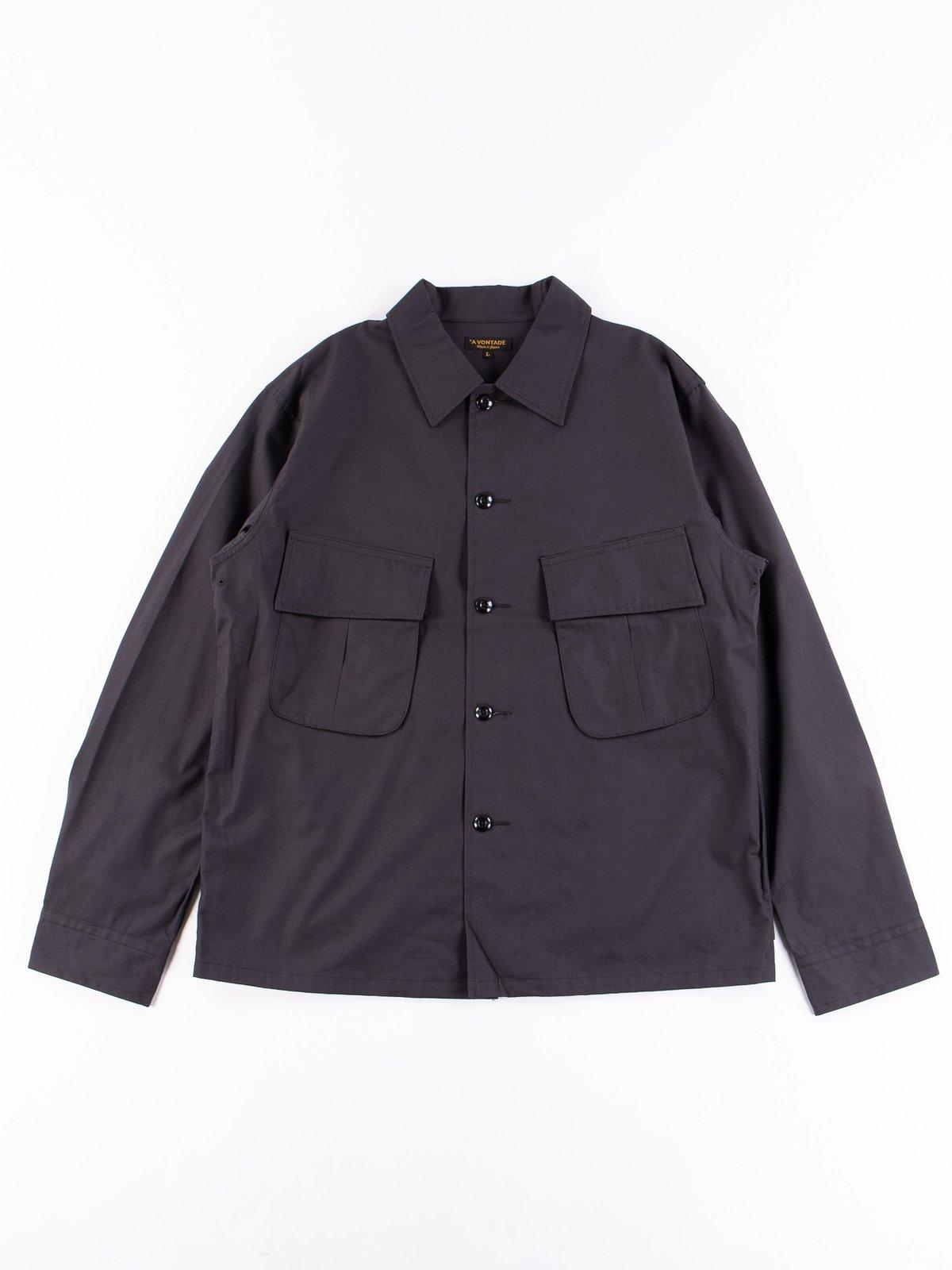 Fade Black Selvedge Poplin Cotton Combat Short Jacket - Image 1