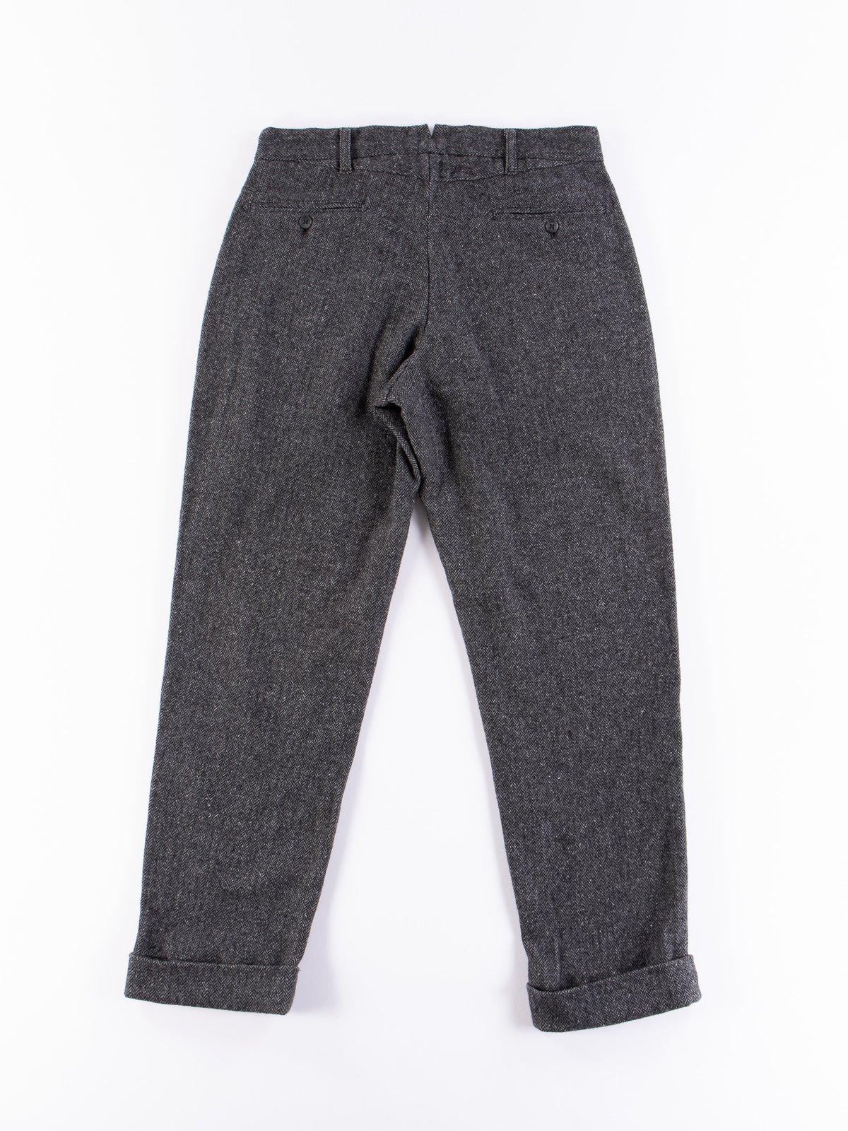 Grey Poly Wool Herringbone Andover Pant - Image 7