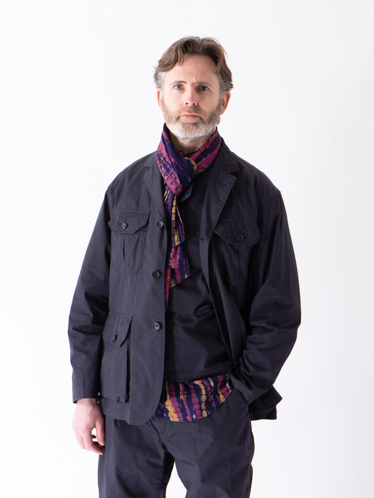 Navy Cotton Lawn Batik Stripe Popover BD Shirt - Image 3