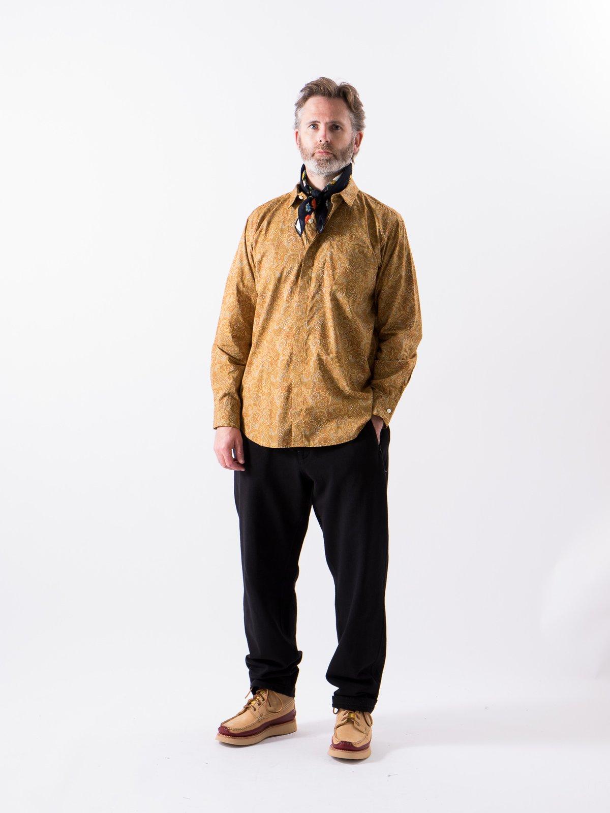 Tan/Olive Cotton Paisley Print Short Collar Shirt - Image 2