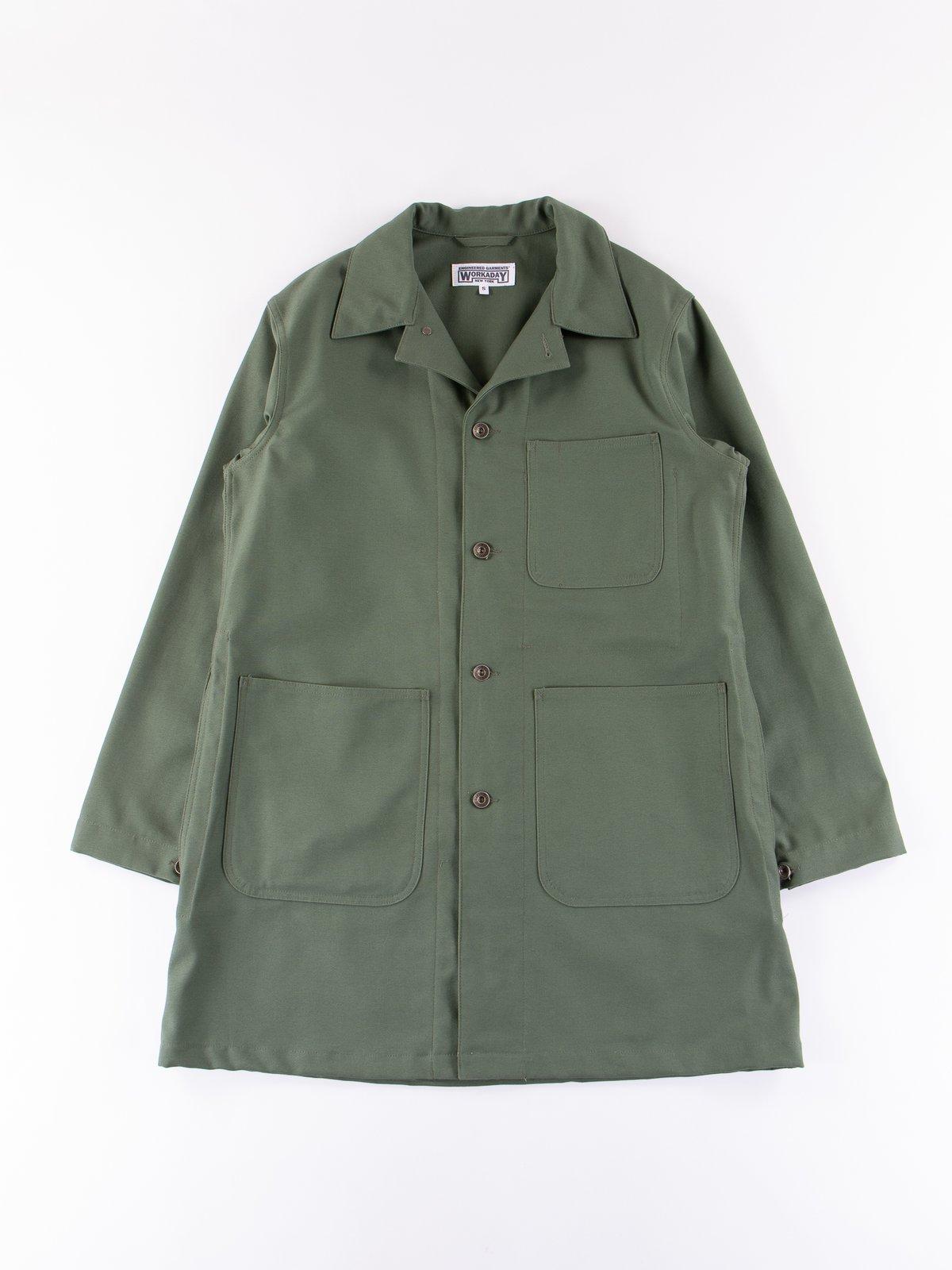 Olive Reversed Sateen Shop Coat - Image 1