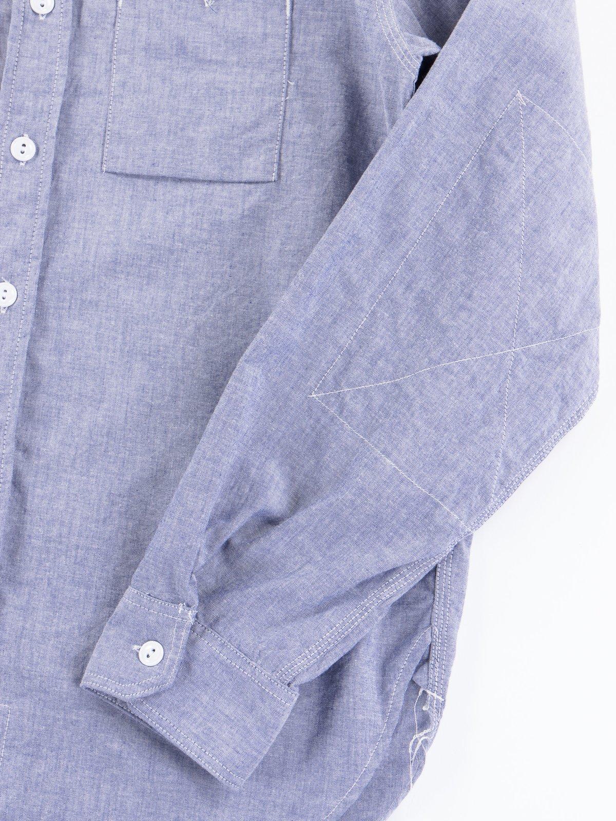 Light Blue Light Weight Cotton Chambray Work Shirt - Image 3