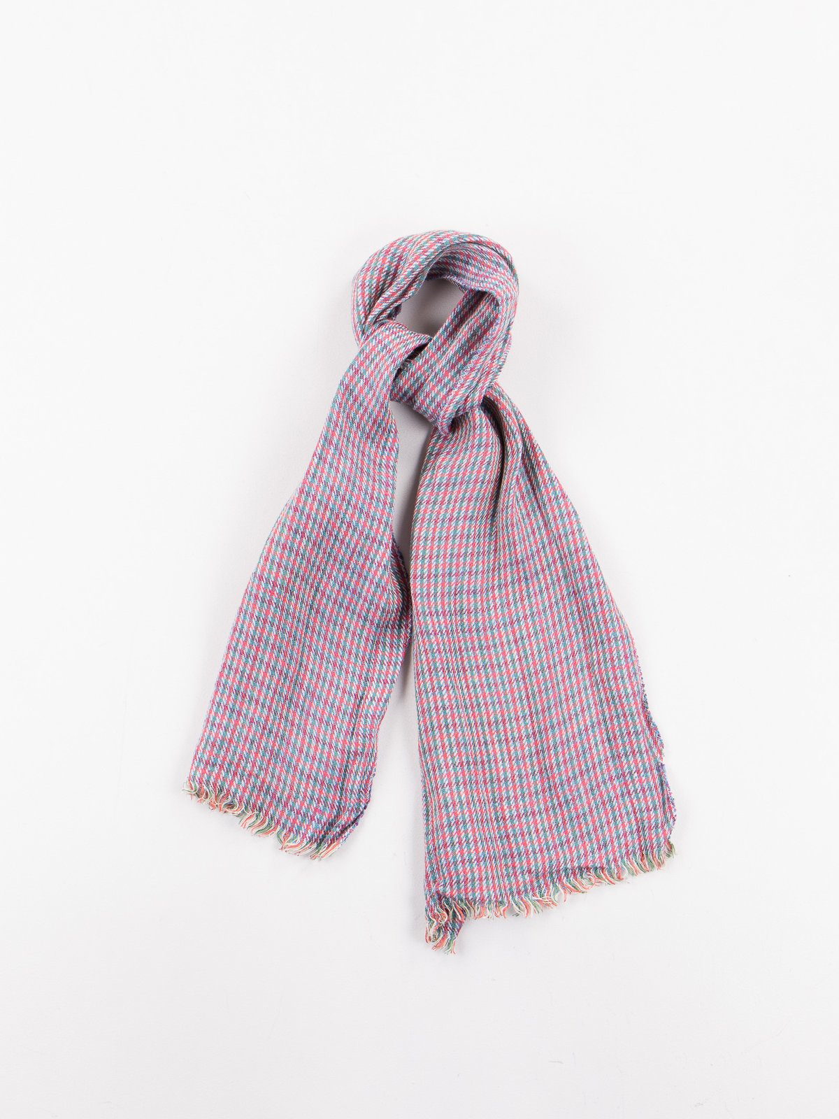 Red/Green Check Linen Neck Scarf - Image 1
