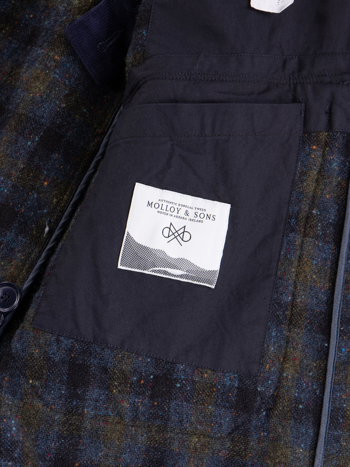 Navy Check Donegal Wool Tweed Madison Parka - Image 10