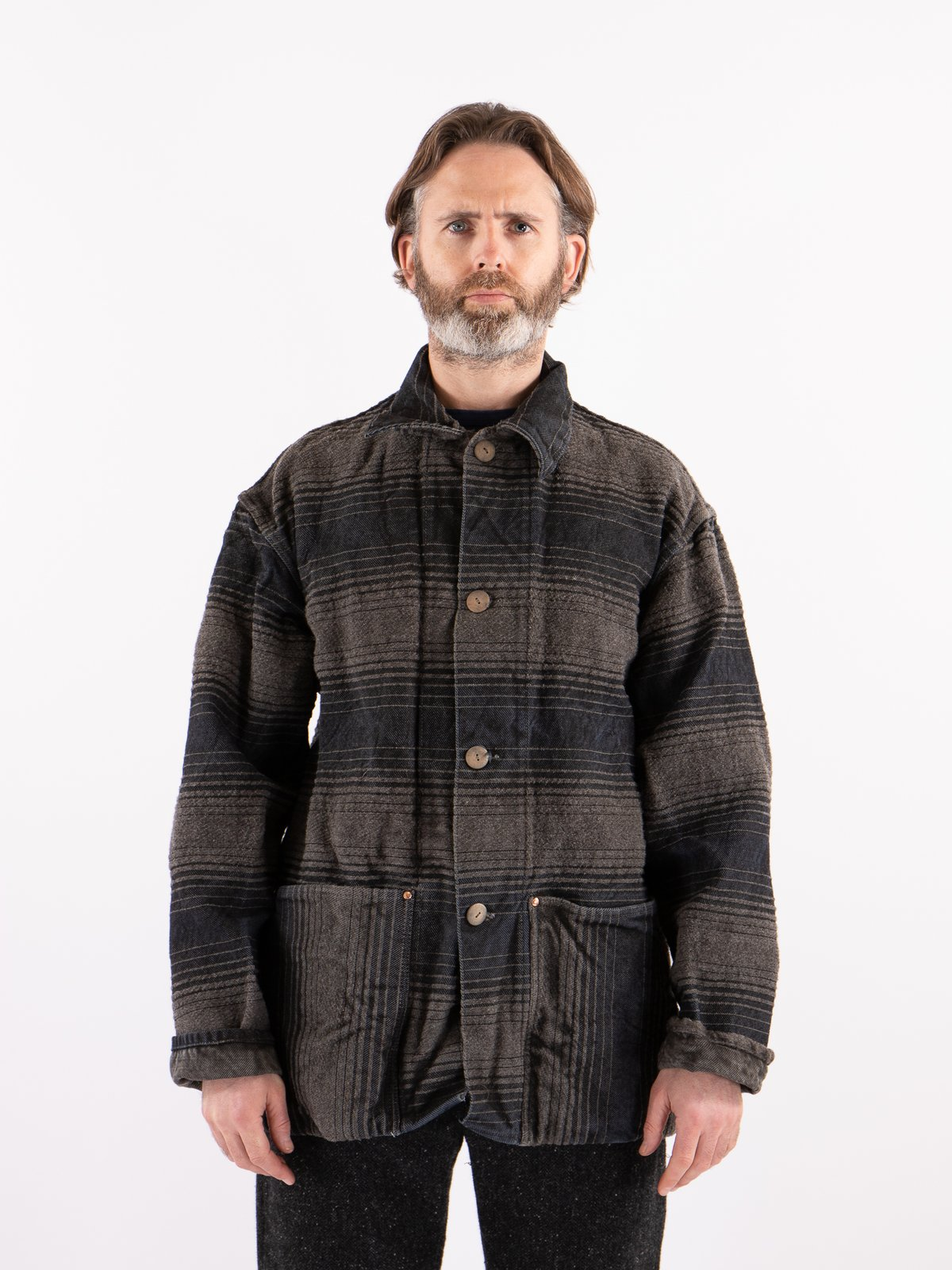 Indian Black Dye Doppler Stripe Collared Shepherd's Coat - Image 2