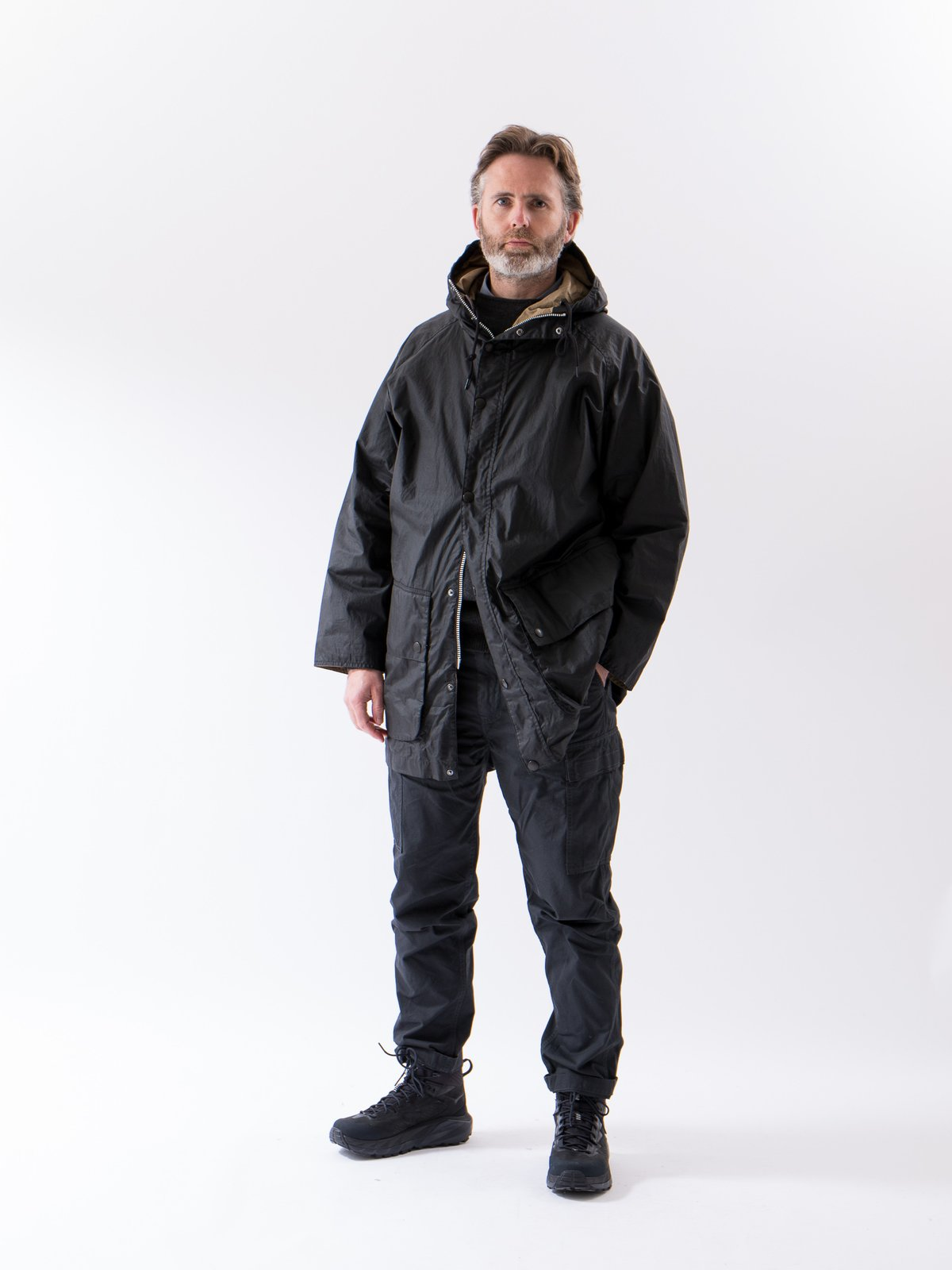 Black Hiking Waxed Cotton Jacket - Image 2