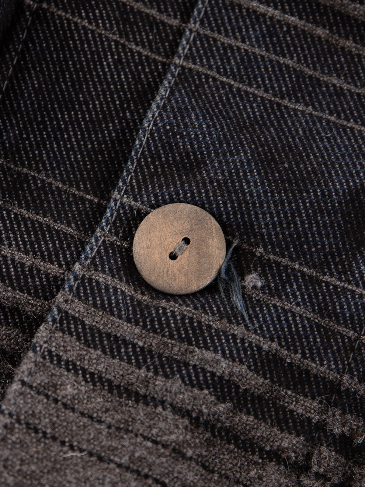 Indian Black Dye Doppler Stripe Collared Shepherd's Coat - Image 6