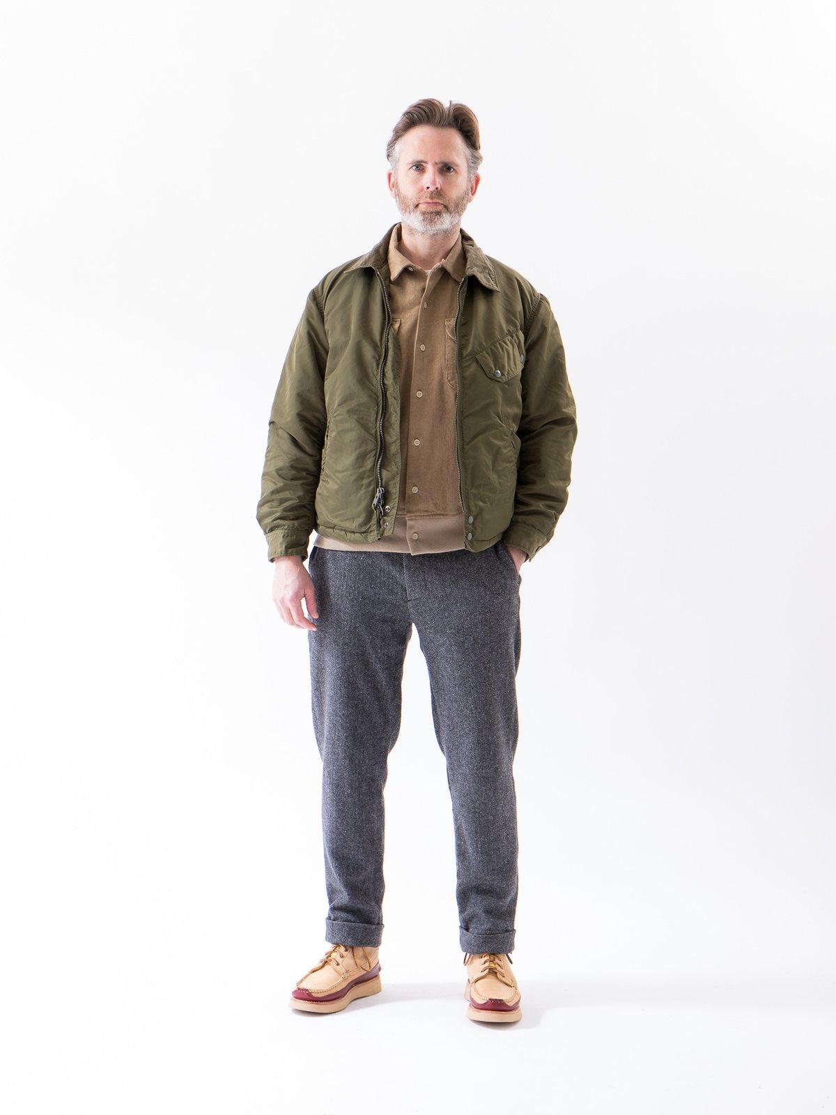 Grey Poly Wool Herringbone Andover Pant - Image 3