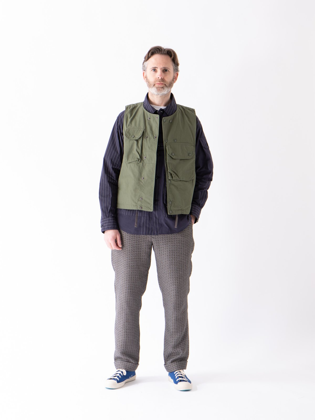 Dark Navy Nyco Gangster Stripe Explorer Shirt Jacket - Image 3