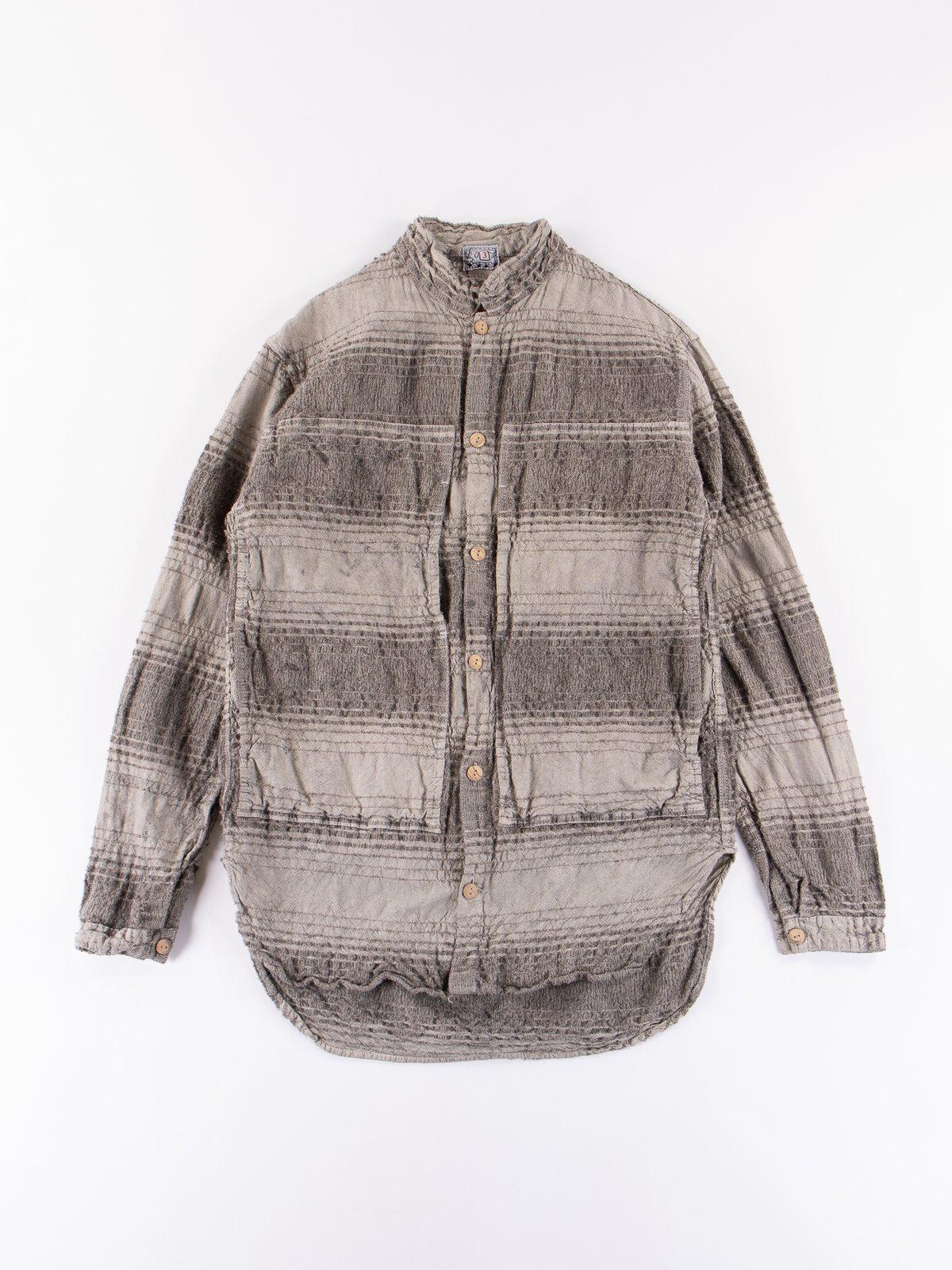 Indian Black Dye Doppler Stripe Calico Periscope Pocket Tail Shirt - Image 1