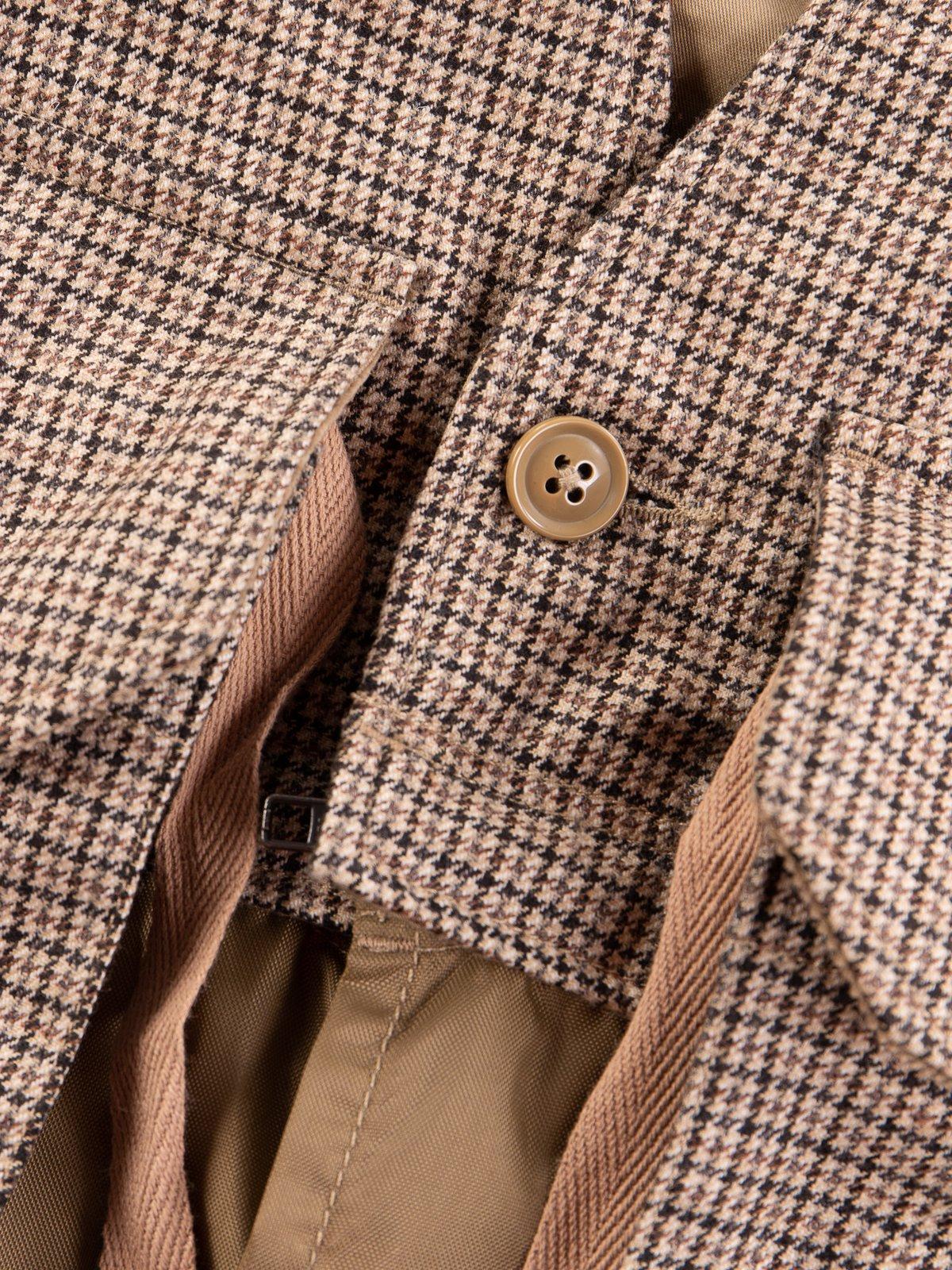 Brown Wool Poly Gunclub Check Long Fowl Vest - Image 5