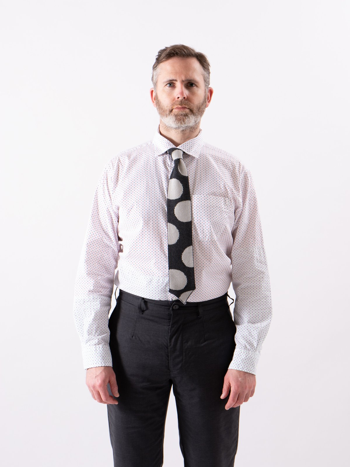 Red/Navy Small Polka Dot Spread Collar Shirt - Image 2