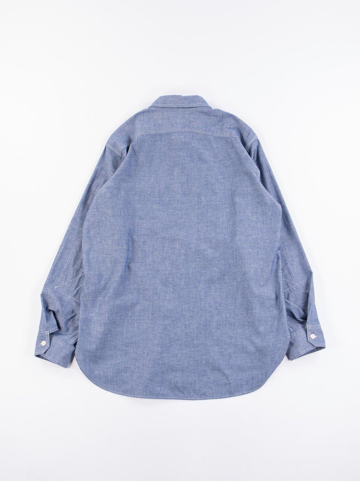 Blue Cotton Chambray Work Shirt - Image 5