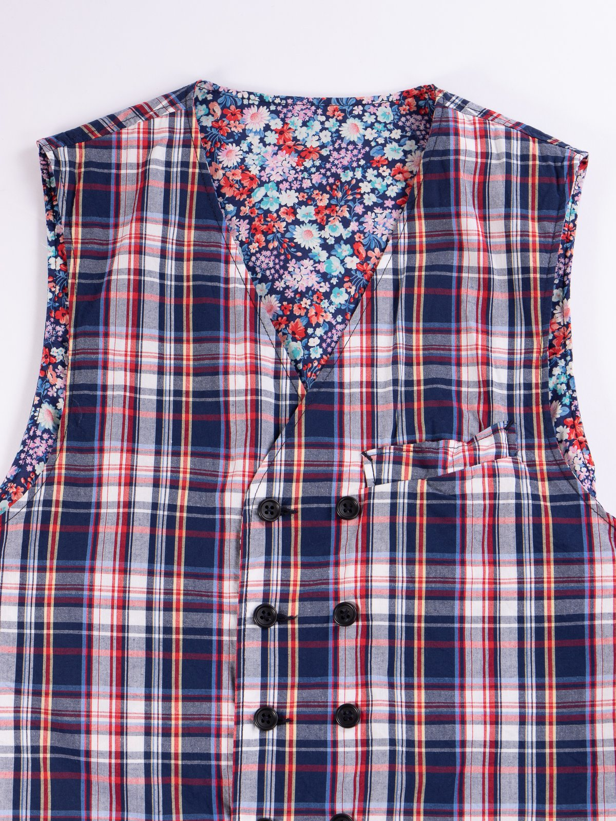 Navy/White/Red Plaid Poplin Reversible Vest - Image 3
