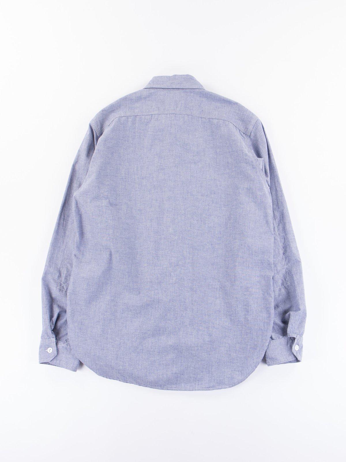 Light Blue Light Weight Cotton Chambray Work Shirt - Image 4