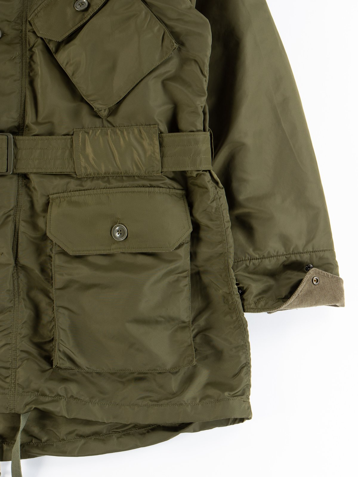 Olive Flight Satin Nylon Field Parka - Image 6