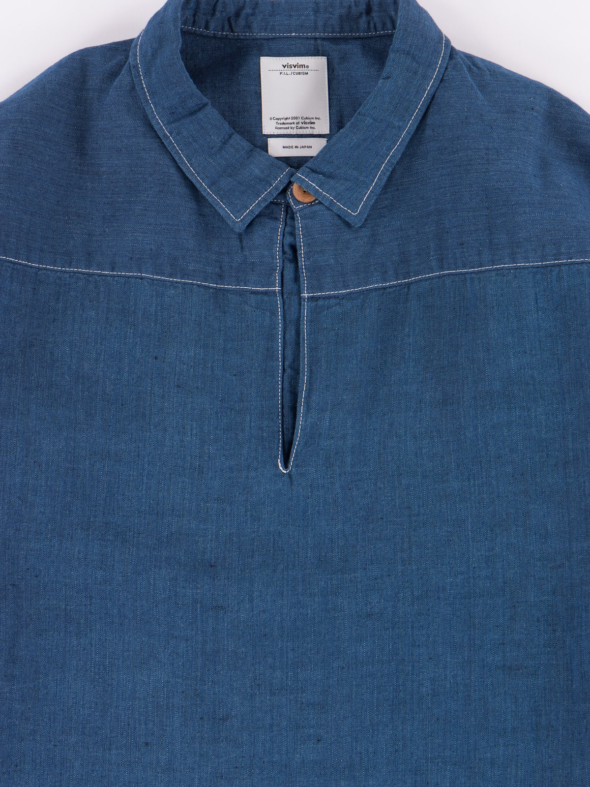 Navy Chambray Kerchief Tunic Shirt - Image 2